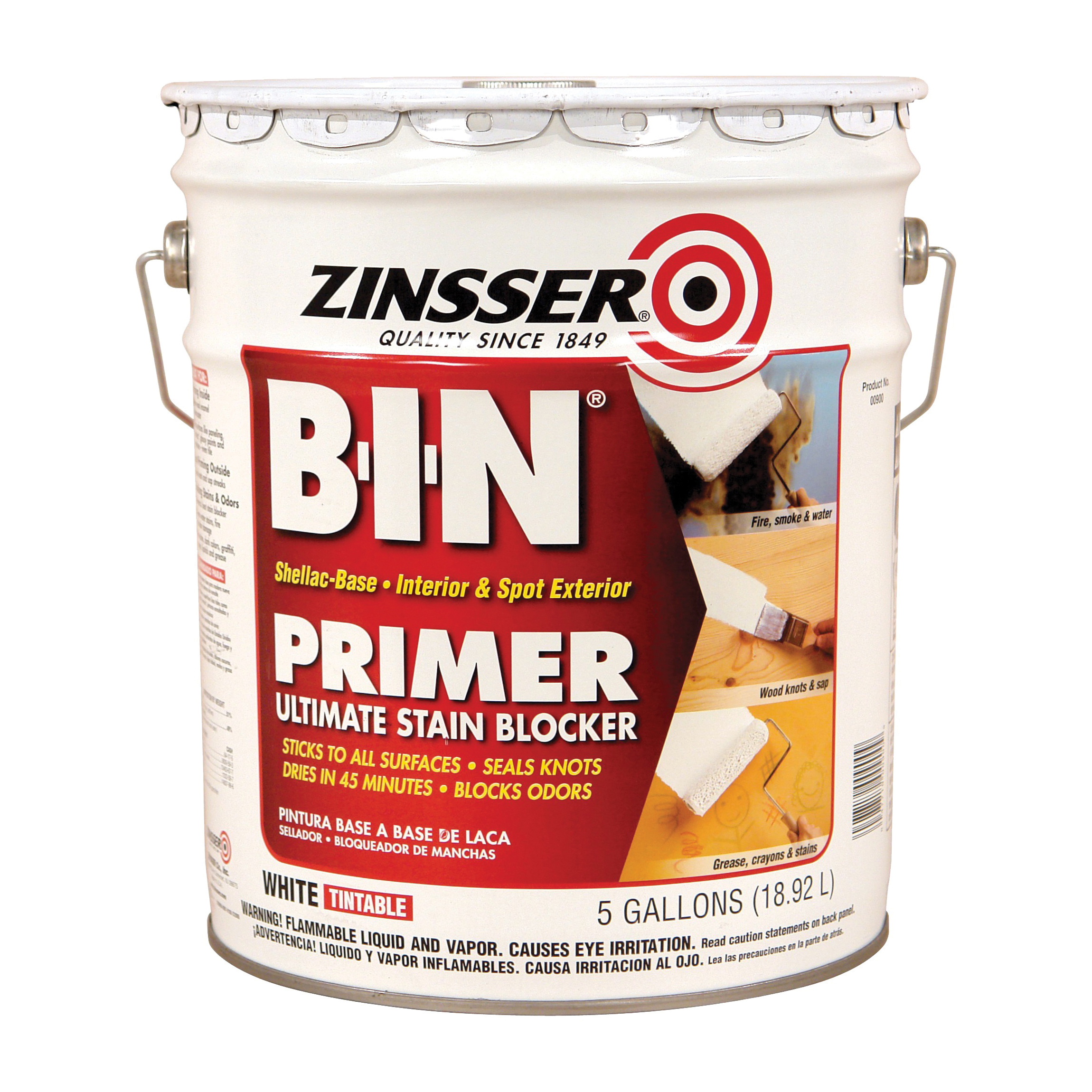 Picture of ZINSSER B-I-N 00900 Shellac-Base Primer, White, 5 gal