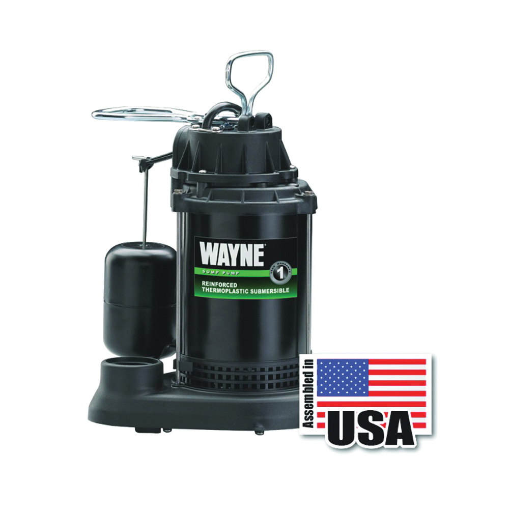 Picture of WAYNE SPF33 Sump Pump, 1-Phase, 9.5 A, 120 V, 0.33 hp, 1-1/2 in Outlet, 15 ft Max Head, 3750 gph, Thermoplastic