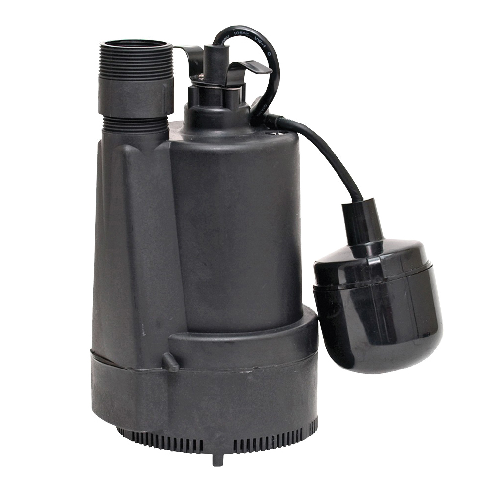 Picture of SUPERIOR PUMP 92330 Sump Pump, 4.1 A, 120 V, 0.33 hp, 1-1/4 x 1-1/2 in Outlet, 40 gpm, Thermoplastic