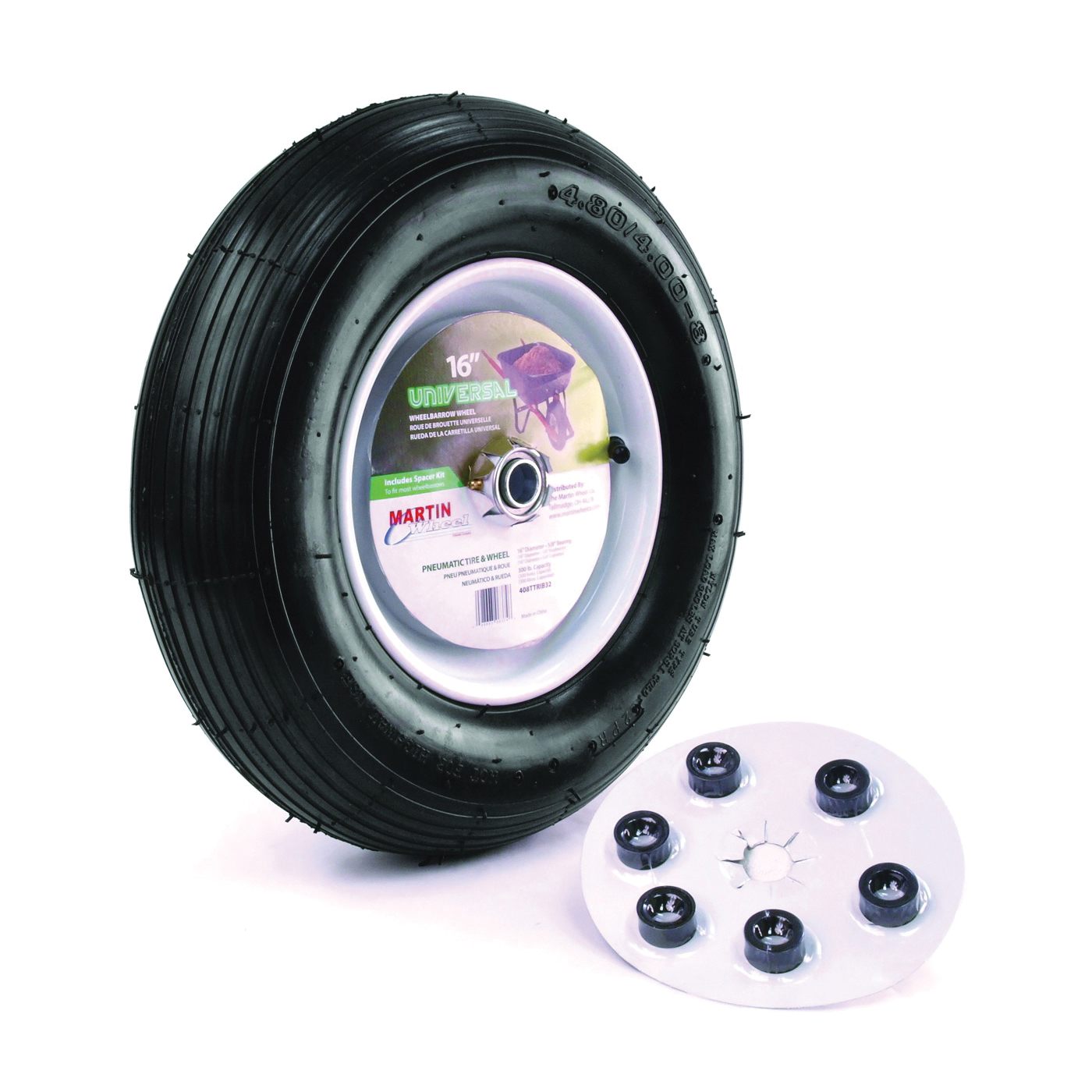 Picture of MARTIN WHEEL 408TTRIB32 Wheelbarrow Wheel with Universal Hub, 4.8 x 4/8 in Tire, 16 in Dia Tire, Ribbed Tread