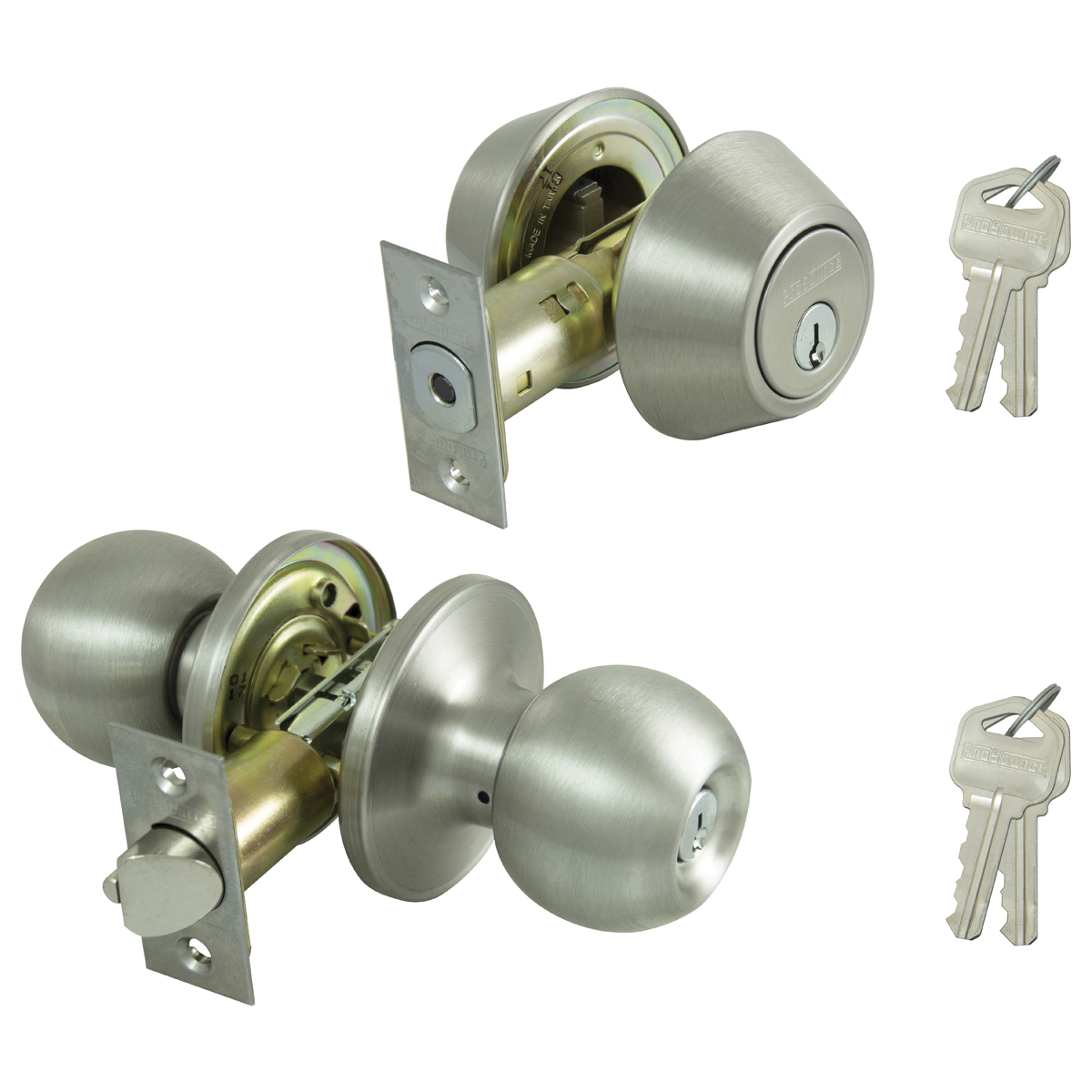 Picture of Prosource B36B1-PS Deadbolt and Entry Lockset, Keyed Alike Key, Brass