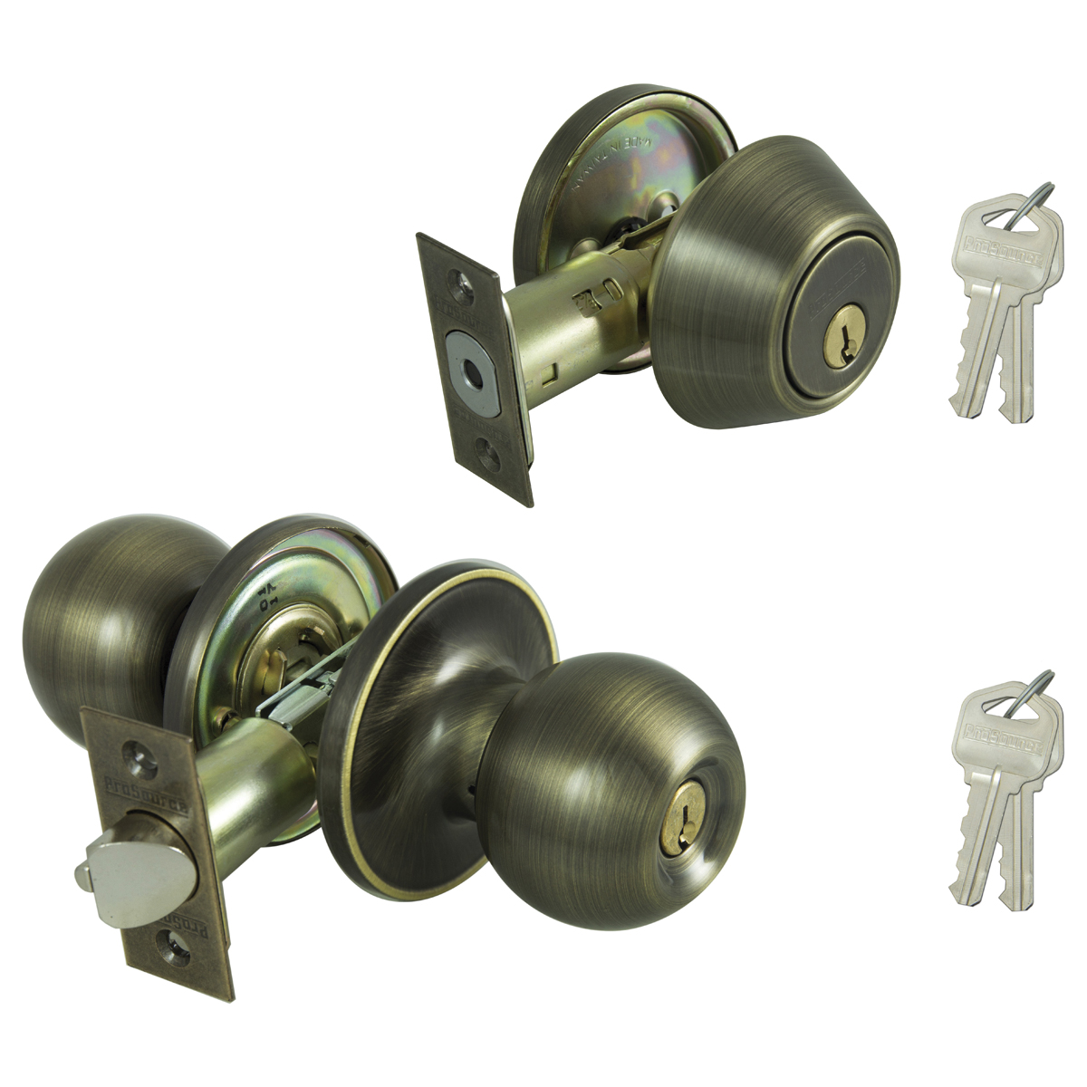 Picture of Prosource B38B1-PS Deadbolt and Entry Lockset, Keyed Alike Key, Brass, Antique Brass