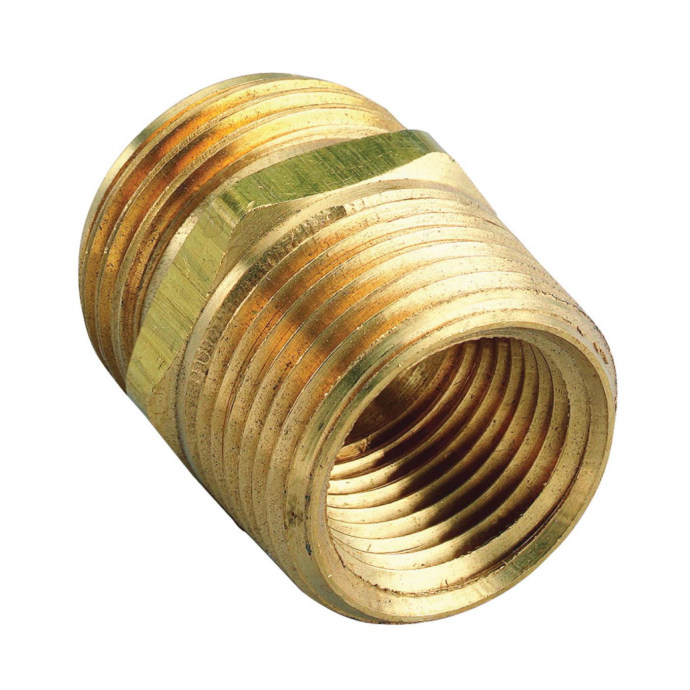 Picture of Orbit 53038 Hose to Pipe Adapter, 3/4 x 3/4 x 1/2 in, MHT x MNPT x FNPT, Brass
