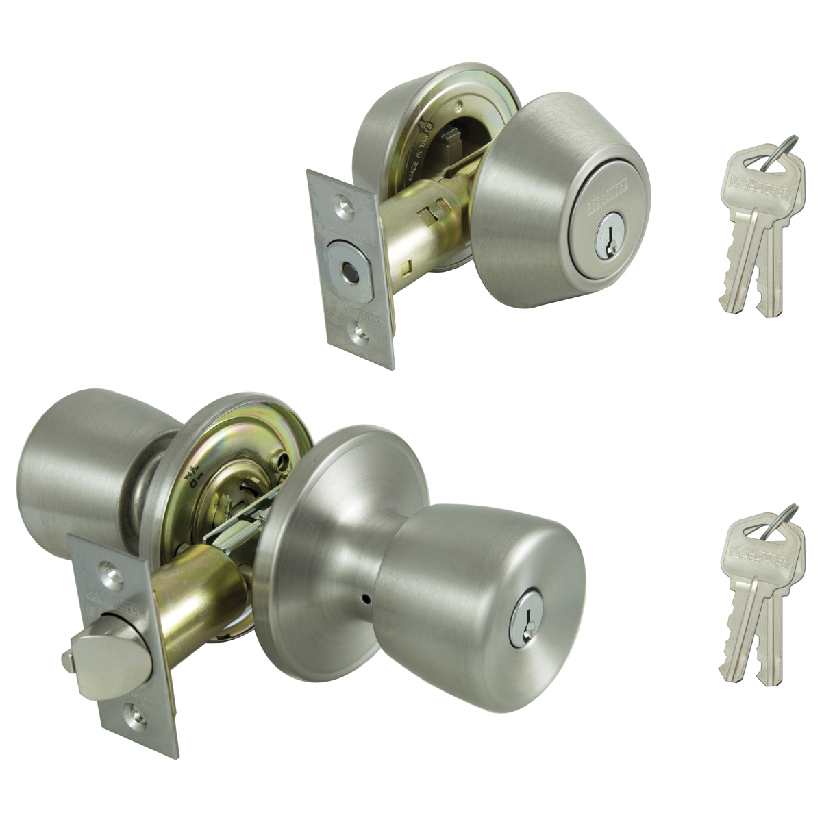 Picture of Prosource BS6B1-PS Deadbolt and Entry Lockset, Keyed Alike Key, 3 Grade, Brass