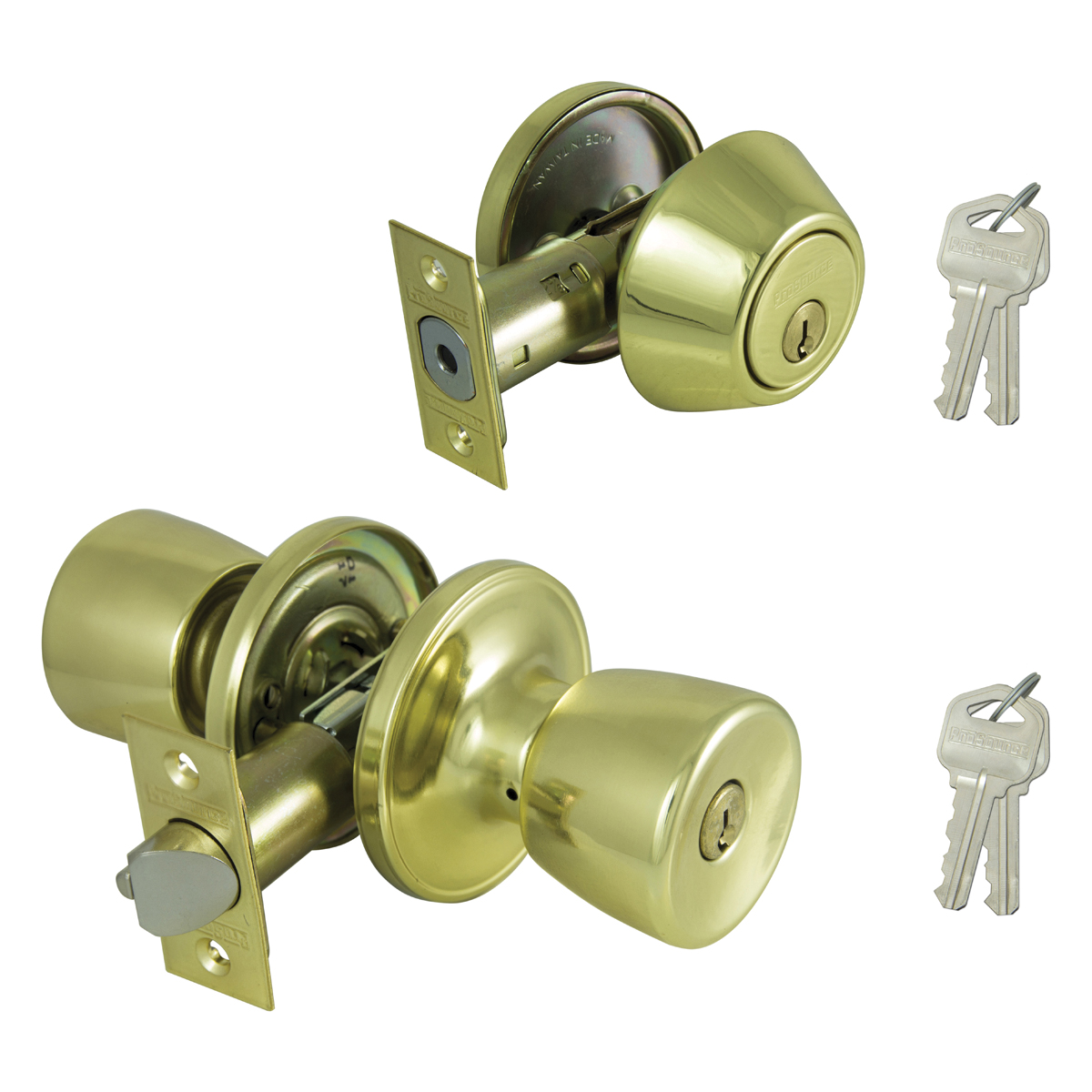 Picture of Prosource BS7B1-PS Deadbolt and Entry Lockset, Keyed Alike Key, 3 Grade, Brass