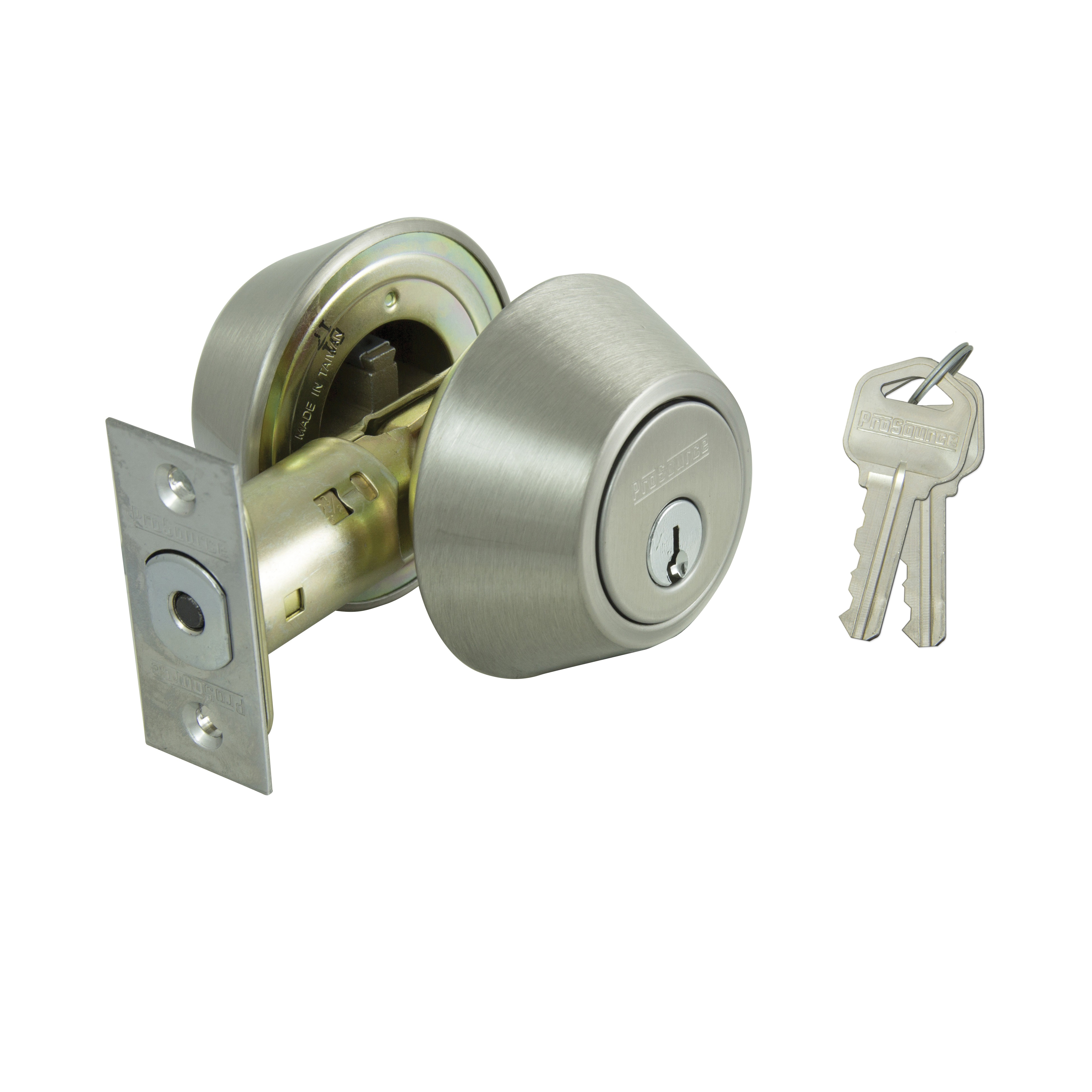 Picture of ProSource DB61V-PS Deadbolt, Metal, Stainless Steel, 2-3/8 to 2-3/4 in Backset, KW1, KA3 Keyway