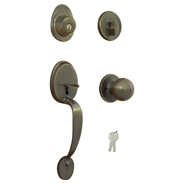 Picture of ProSource S7831-PS Handleset, Keyed Key, Solid Brass, Antique Brass, 2-3/8 x 2-3/4 in Backset, KW1 Keyway