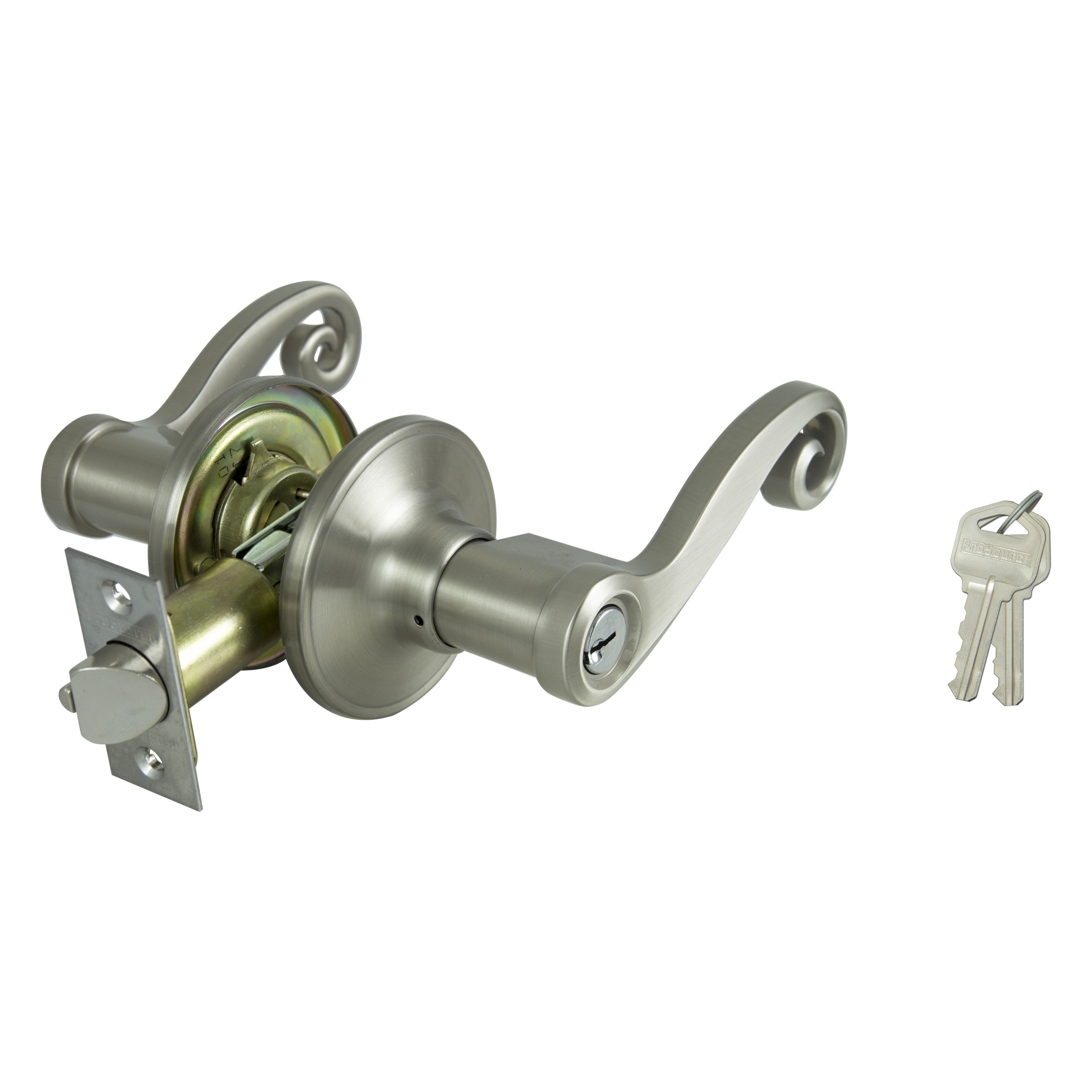 Picture of ProSource L6P00V-PS Entry Leverset, Solid Brass, Satin Nickel