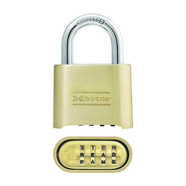 Picture of Master Lock 175DWD Combination Padlock, 5/16 in Dia Shackle, 1 in H Shackle, Steel Shackle, Brass Body, Brass