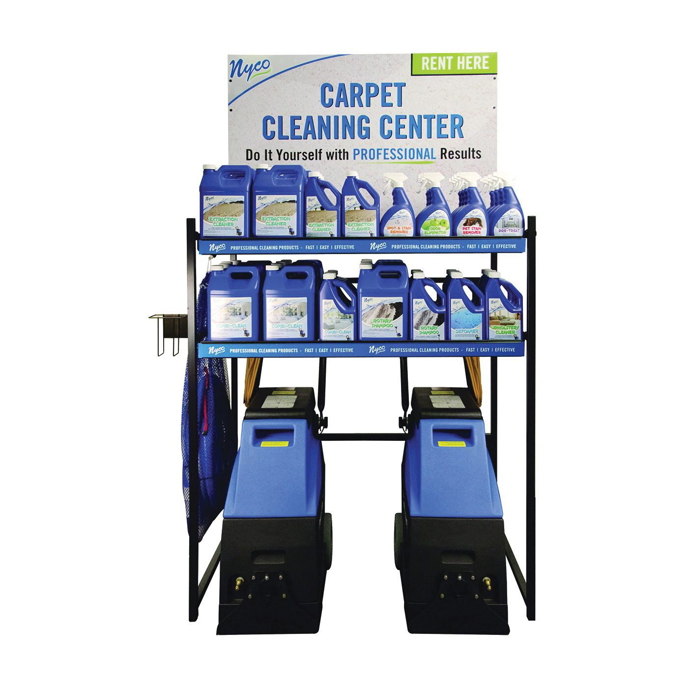 Picture of nyco DSP-CR01 Display Rack, 10 to 12 Case Mixed Products, 3 Carpet Cleaning Machines