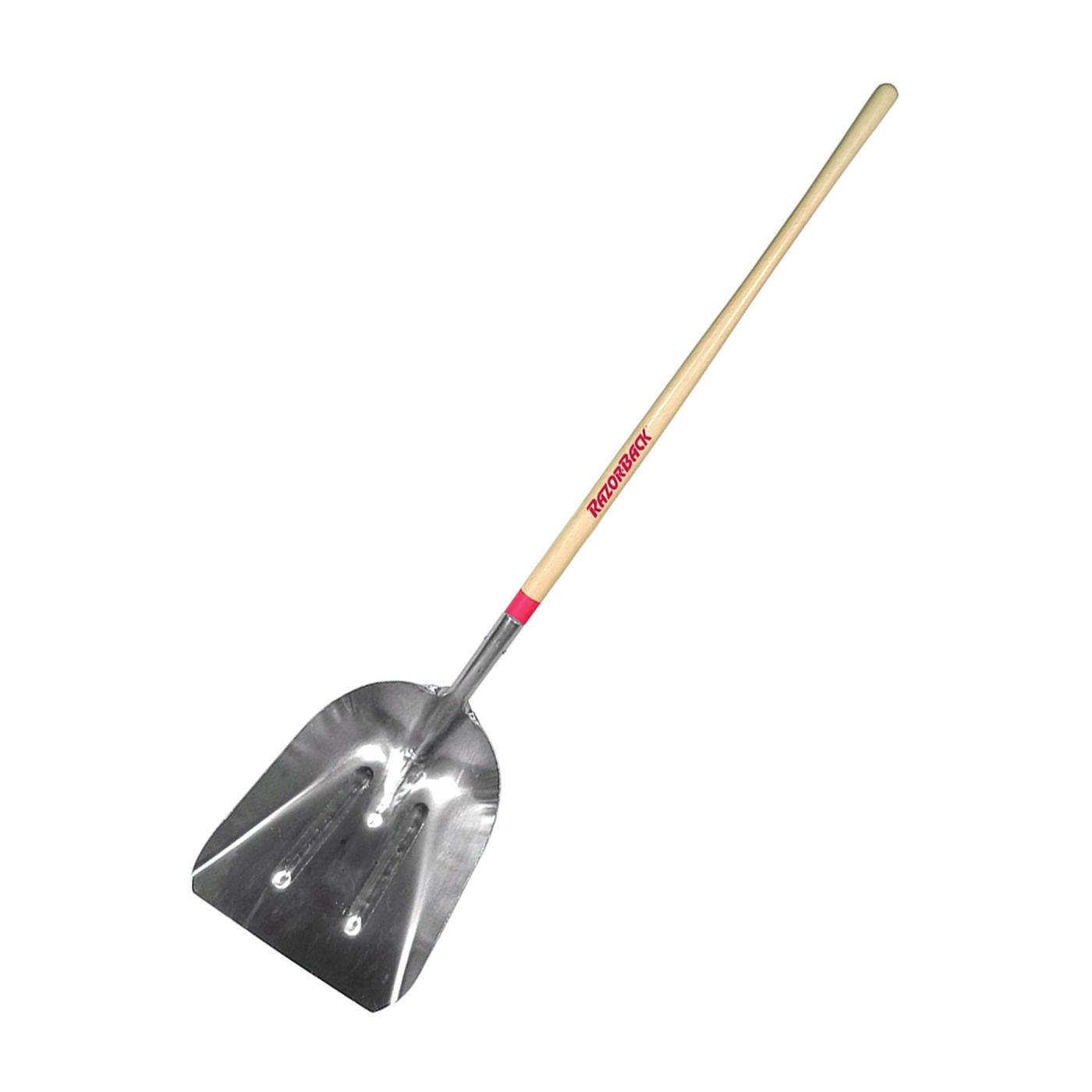 Picture of RAZOR-BACK 53127 Scoop Shovel, 14-1/4 in W Blade, 18 in L Blade, Aluminum Blade, Wood Handle, Long Handle