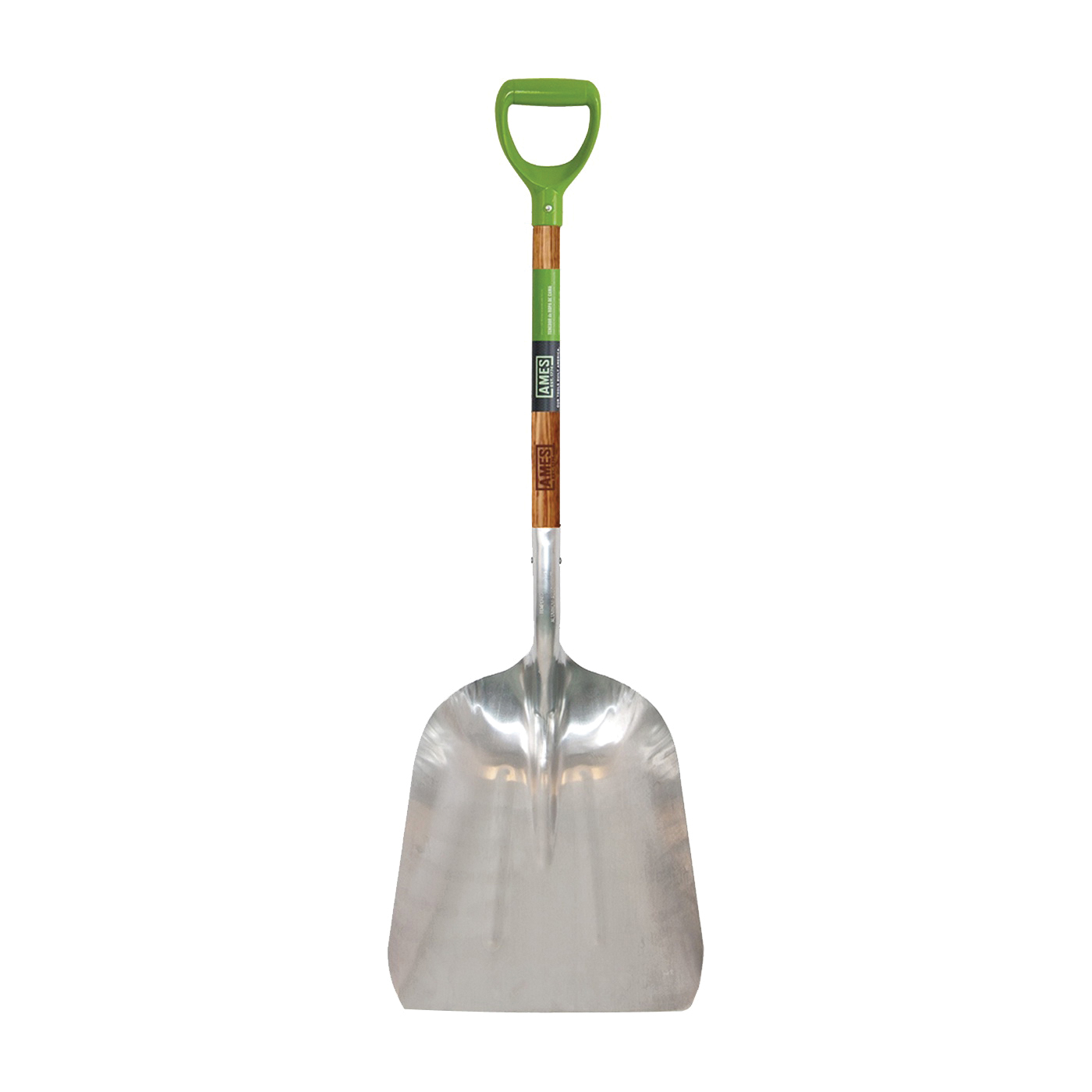 Picture of AMES 2672100 Scoop Shovel, 15 in W Blade, 11-1/4 in L Blade, Aluminum Blade, Hardwood Handle, D-Shaped Handle