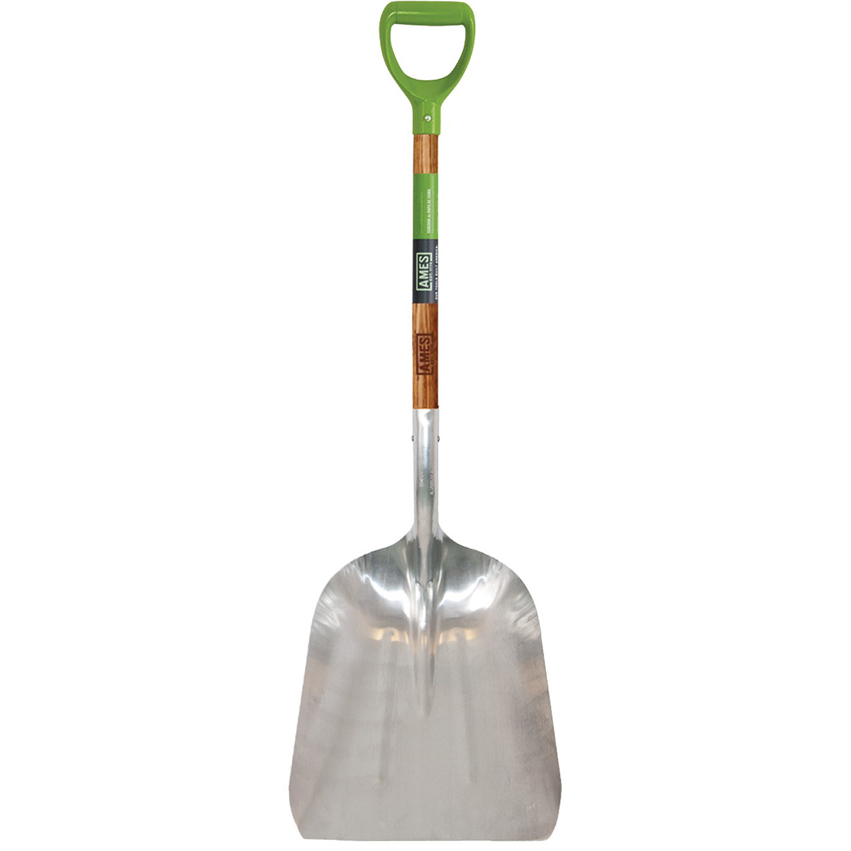 Picture of AMES 2672300 Scoop Shovel, 14-1/2 in W Blade, 10 in L Blade, Aluminum Blade, Hardwood Handle, D-Shaped Handle