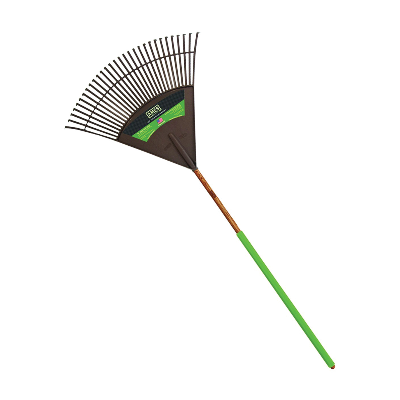 Picture of AMES 2915712 Leaf Rake, Poly Tine, 30 -Tine, Wood Handle, 48 in L Handle