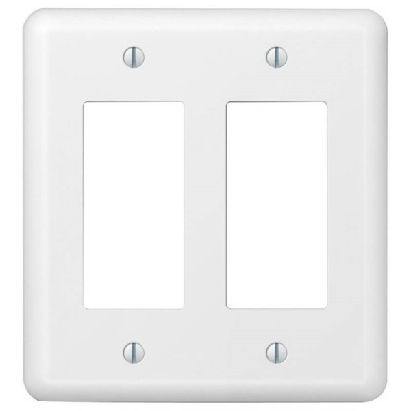 Picture of AmerTac Devon 935RRW Wallplate, 5 in L, 4-5/8 in W, 2-Gang, Steel, White