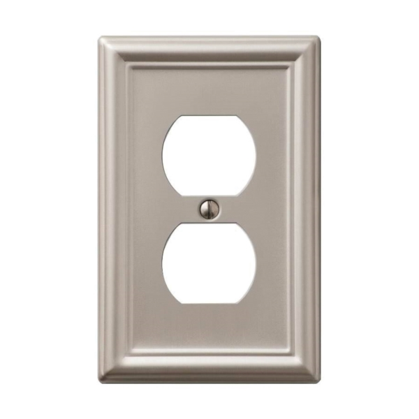 Picture of AmerTac Chelsea 149DBN Outlet Wallplate, 4-7/8 in L, 3-1/8 in W, 1-Gang, Steel, Brushed Nickel, Wall Mounting