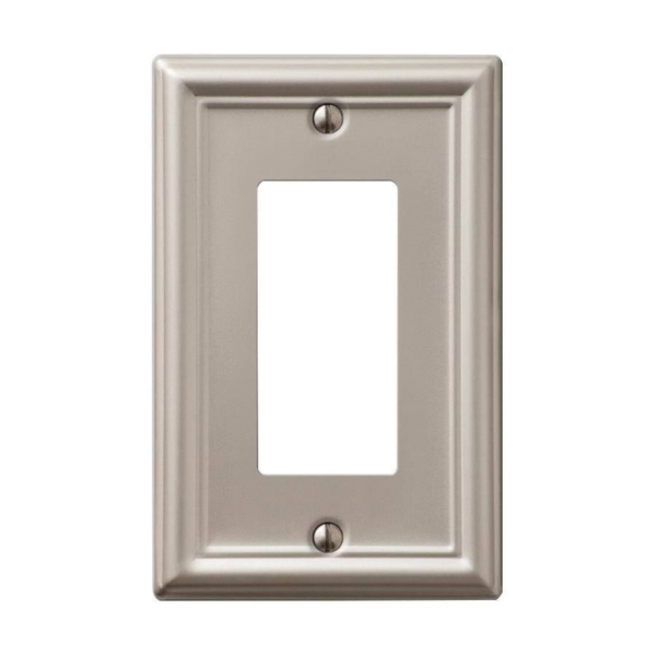 Picture of AmerTac Chelsea 149RBN Rocker Wallplate, 4-7/8 in L, 3-1/8 in W, 1-Gang, Steel, Brushed Nickel
