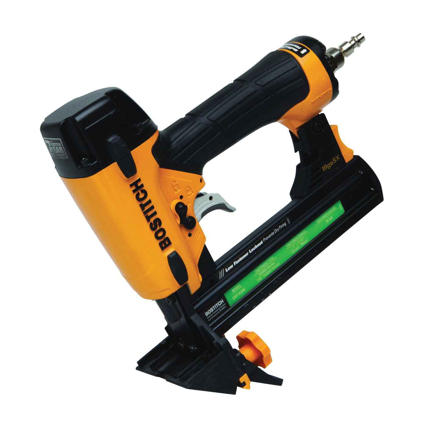 Picture of Bostitch EHF1838K Flooring Stapler, 1 to 1-1/2 in W Crown, 1 to 1-1/2 in L Leg, 100 Magazine, 160 in-lb Air
