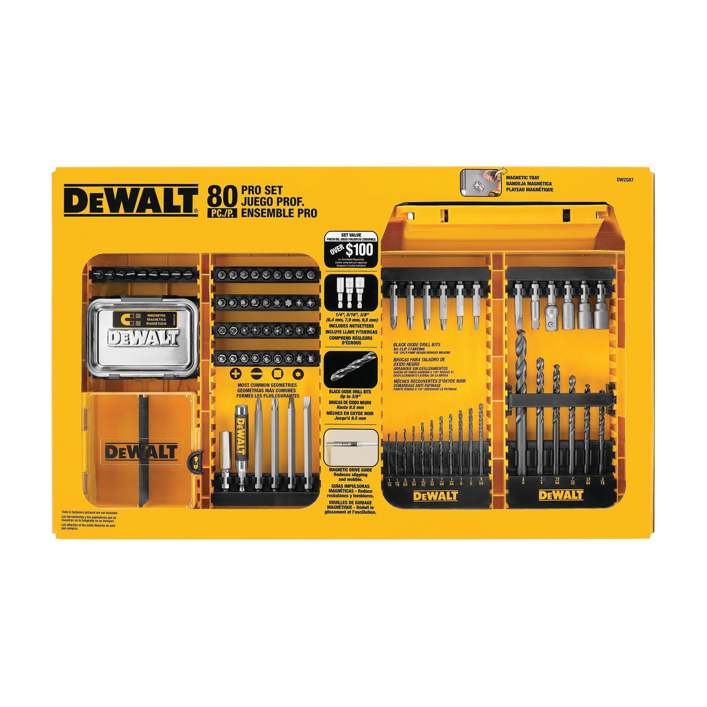 Picture of DeWALT DWAMF1280 Drill and Driver Bit Set, Combination Professional, 80 -Piece, Steel, Black Oxide
