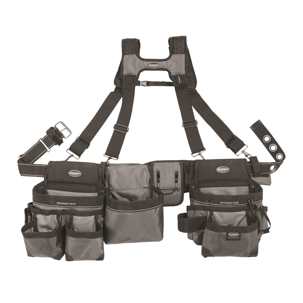 Picture of Bucket Boss 55135 Mullet Buster Suspension Rig, 52 in Waist, Poly Fabric, Gray, 29 -Pocket