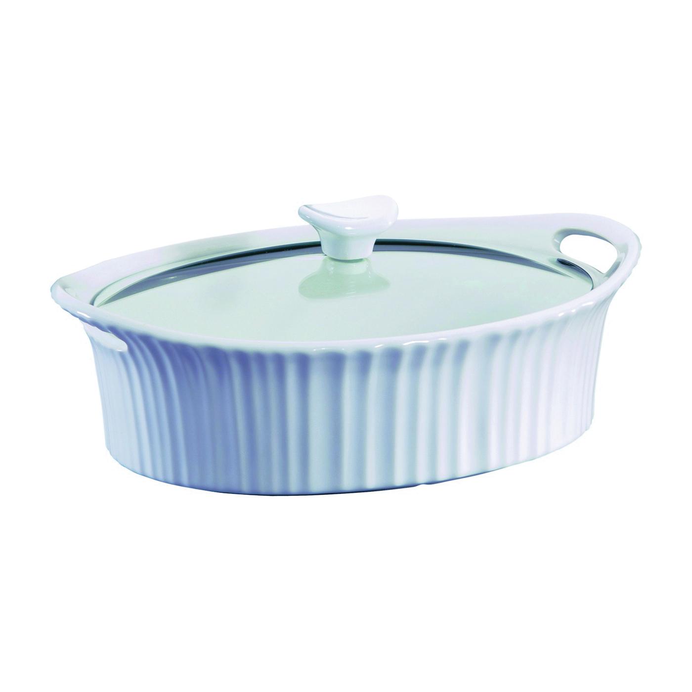 Picture of Corningware 1105935 Casserole Dish with Lid, 2.5 qt Capacity, Stoneware, French White, Dishwasher Safe: Yes