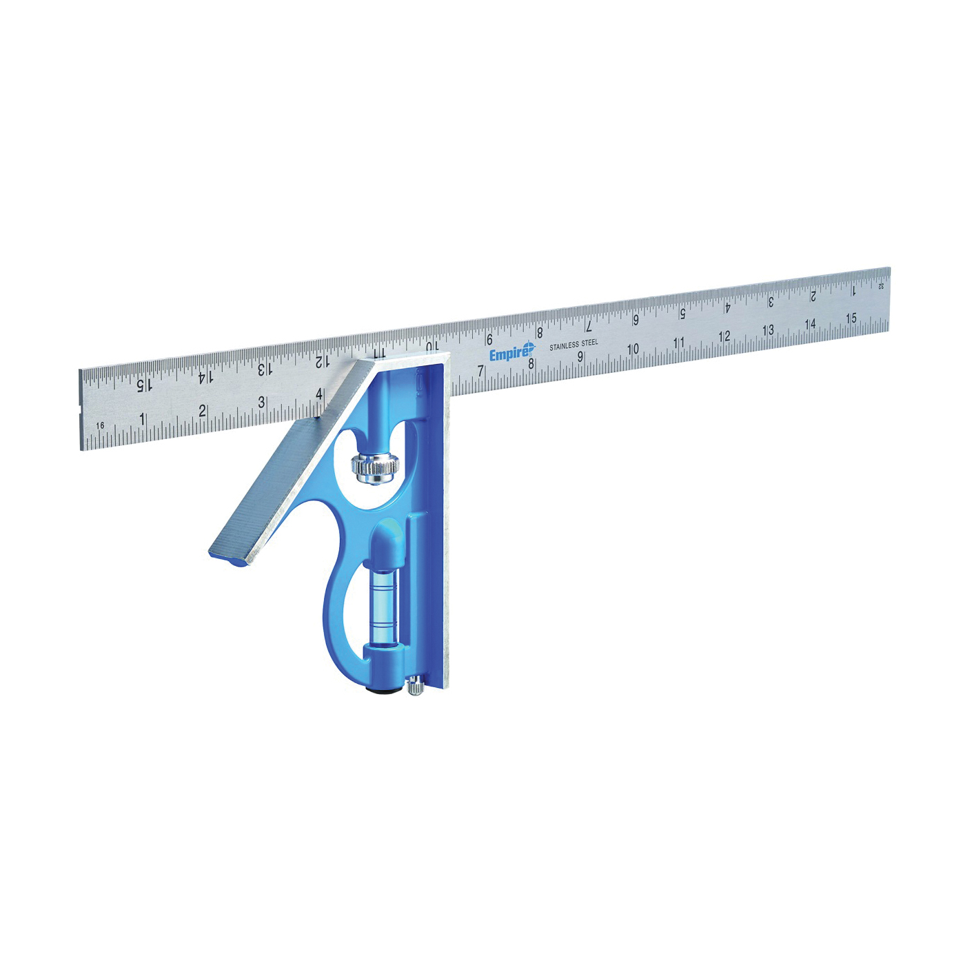 Picture of Empire True Blue E280 Combination Square, 16 in L Blade, SAE Graduation, Stainless Steel Blade