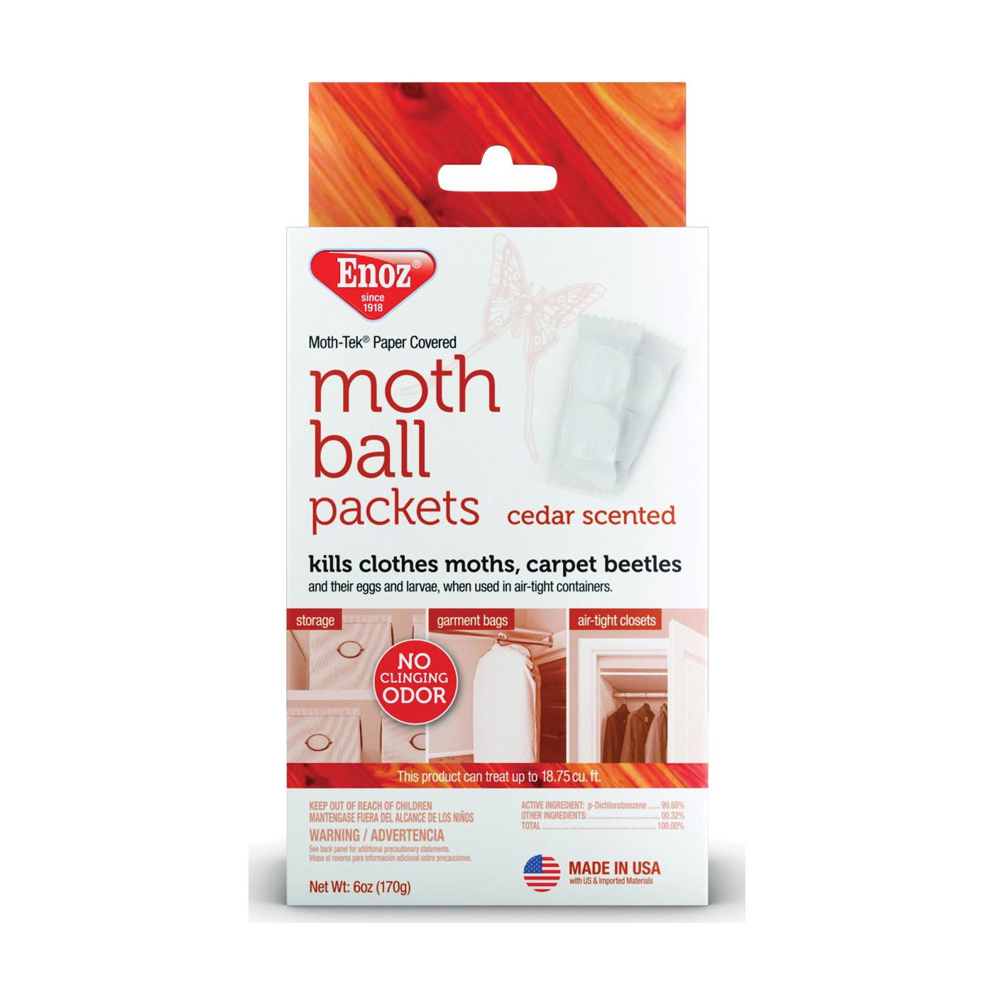 Picture of Enoz Moth-Tek E220.6T Moth Ball, Crystalline Solid, Cedar, White