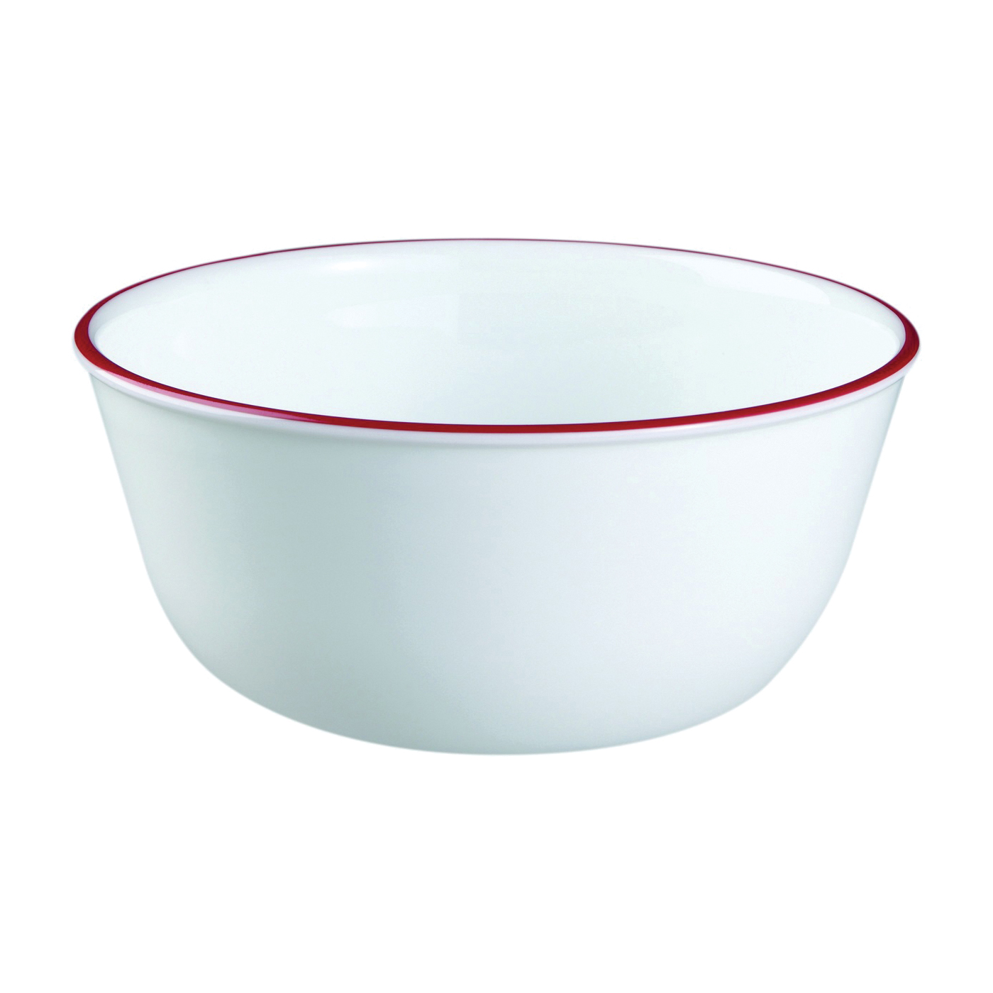 Picture of OLFA 1060572 Soup/Cereal Bowl, Vitrelle Glass, Red/White, For: Dishwashers and Microwave Ovens