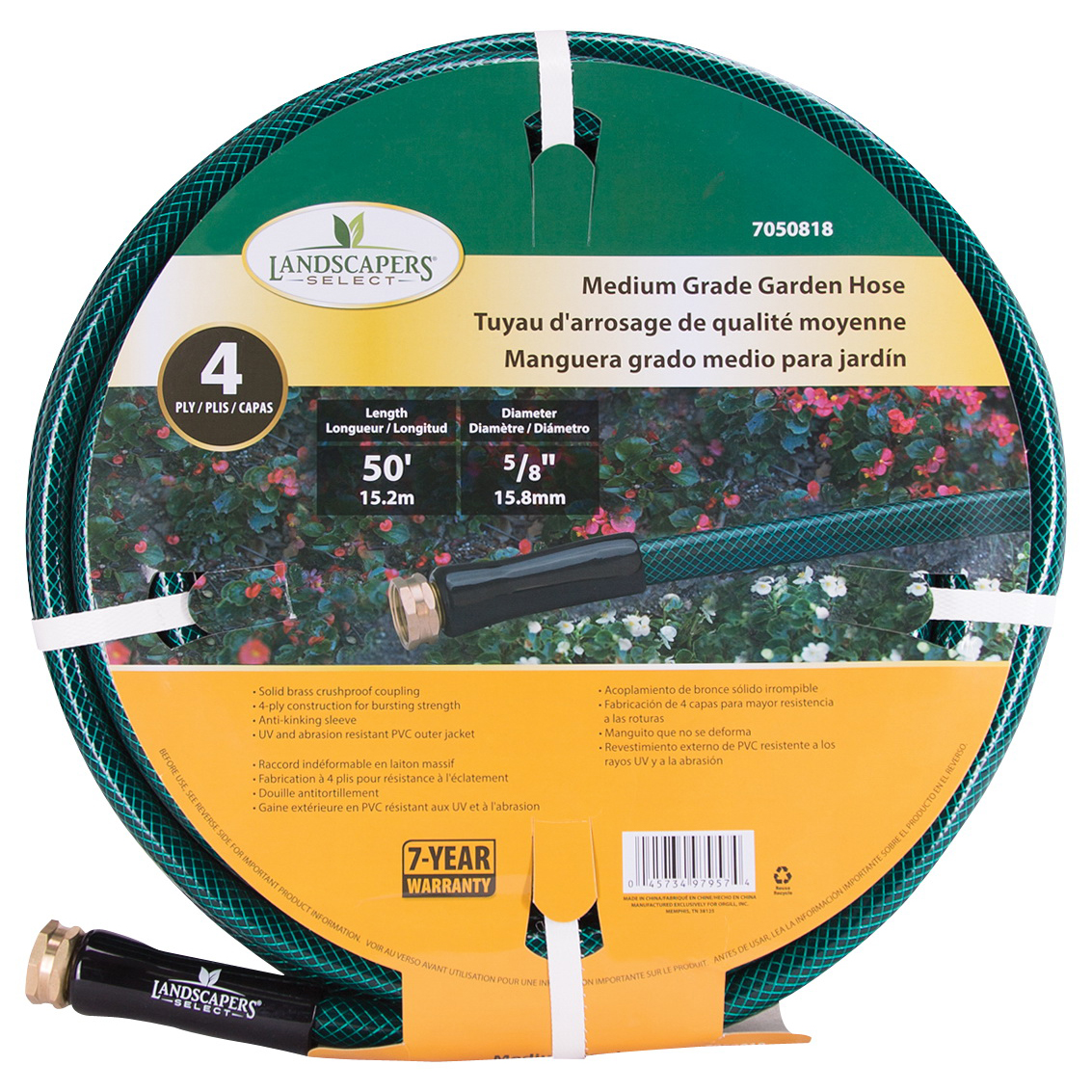 Picture of Landscapers Select BL5820050HM Garden Hose, 50 ft L, Female x Male, PVC, Green