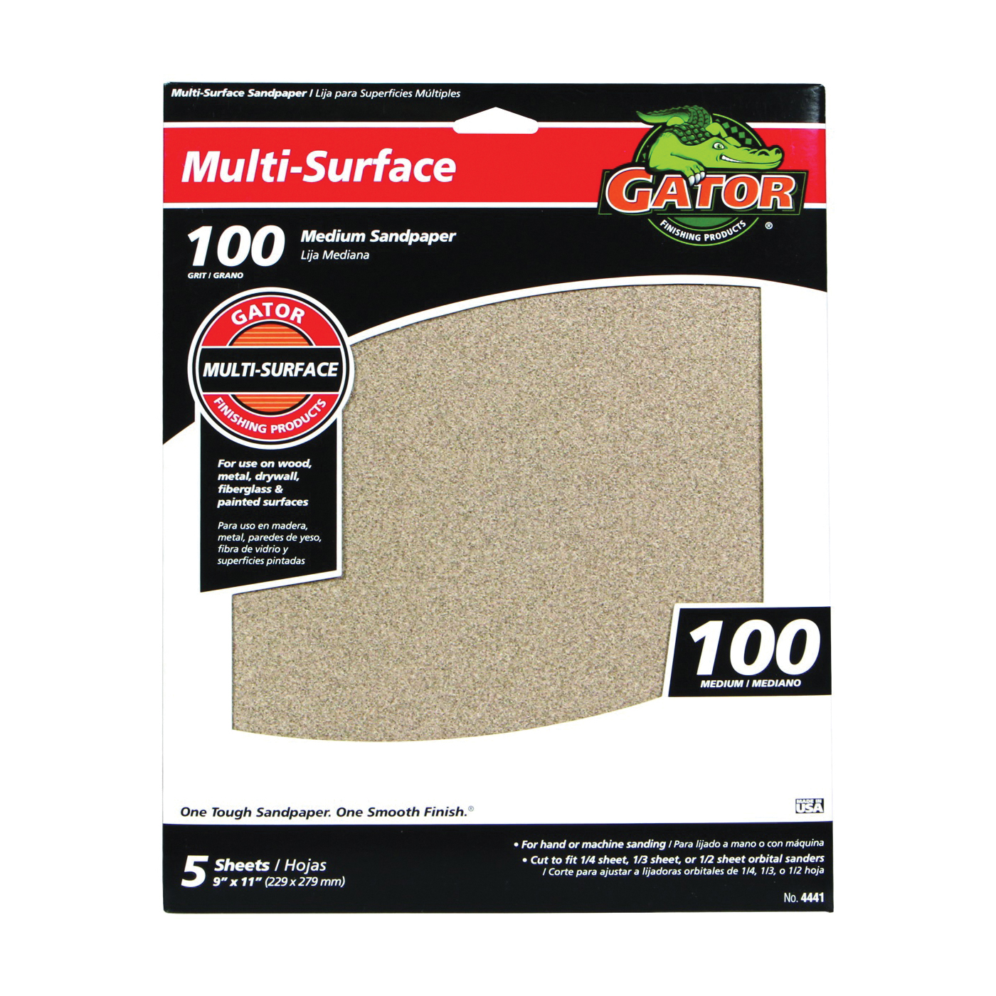 Picture of Gator 4441 Sanding Sheet, 11 in L, 9 in W, 100 Grit, Medium, Aluminum Oxide Abrasive