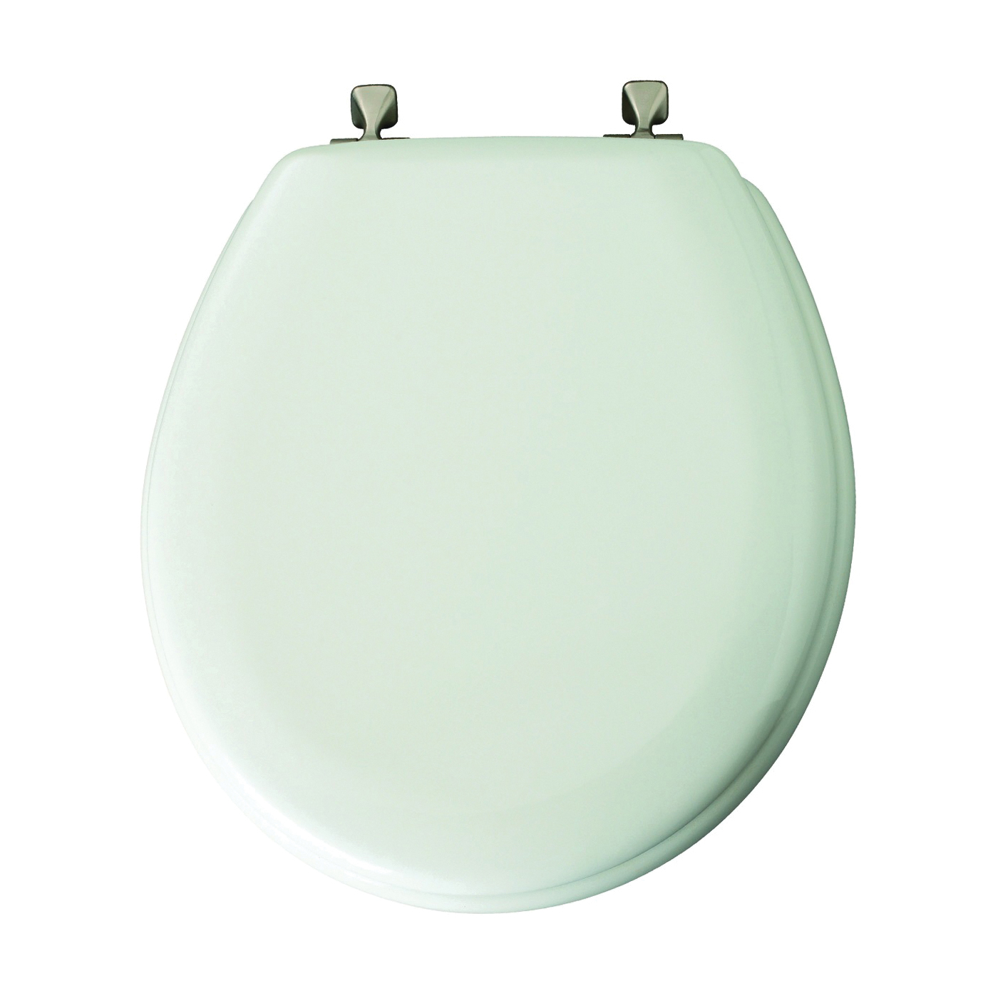 Picture of Mayfair 44BN000 Toilet Seat, Round, Wood, White, Non-Tarnish, Classic Hinge