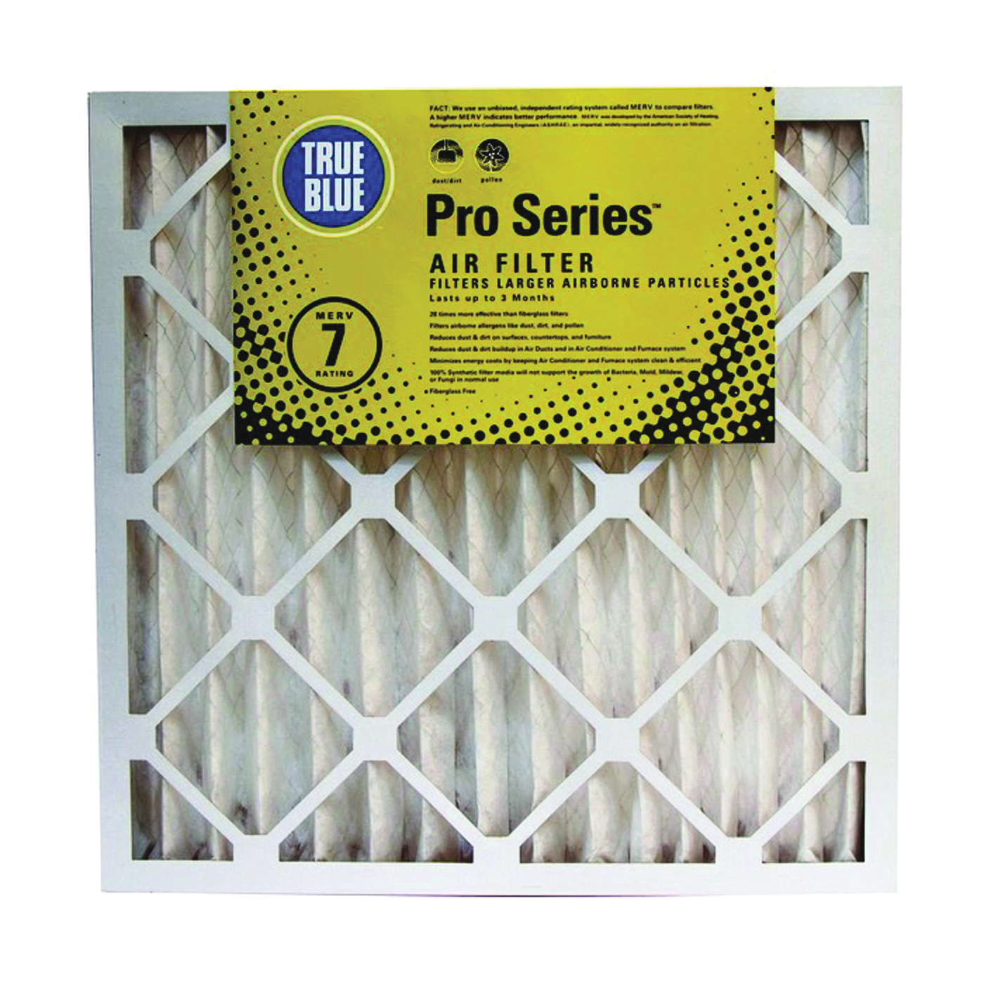Picture of True Blue PRO216252 Air Filter, 25 in L, 16 in W, 7 MERV, 53.7 % Filter Efficiency, Synthetic Pleated Filter Media