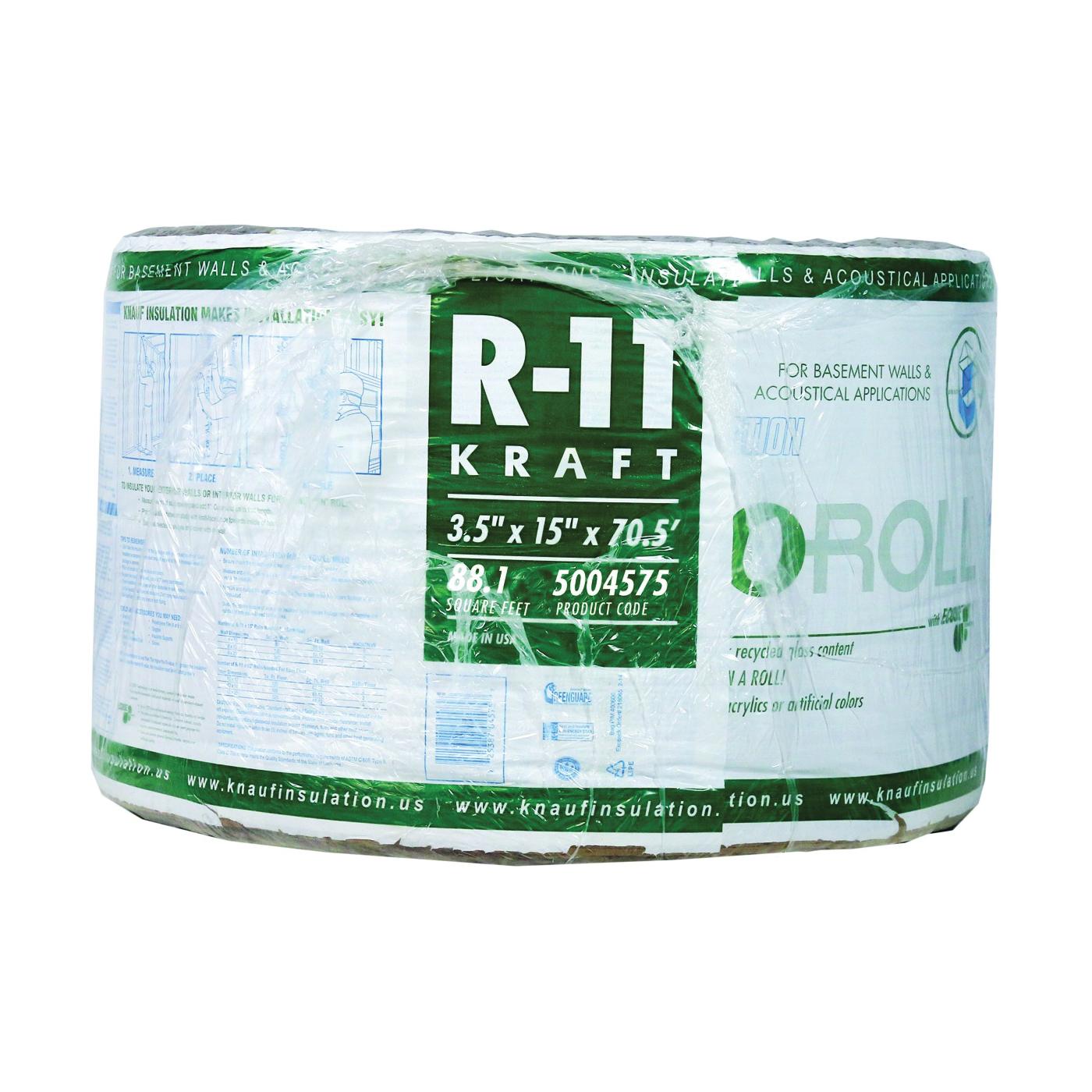 Picture of Knauf Insulation EcoRoll KR41E/TAK Fiberglass Insulation, 70-1/2 ft L, 15 in W, R-11 R-Value, Steel, Brown