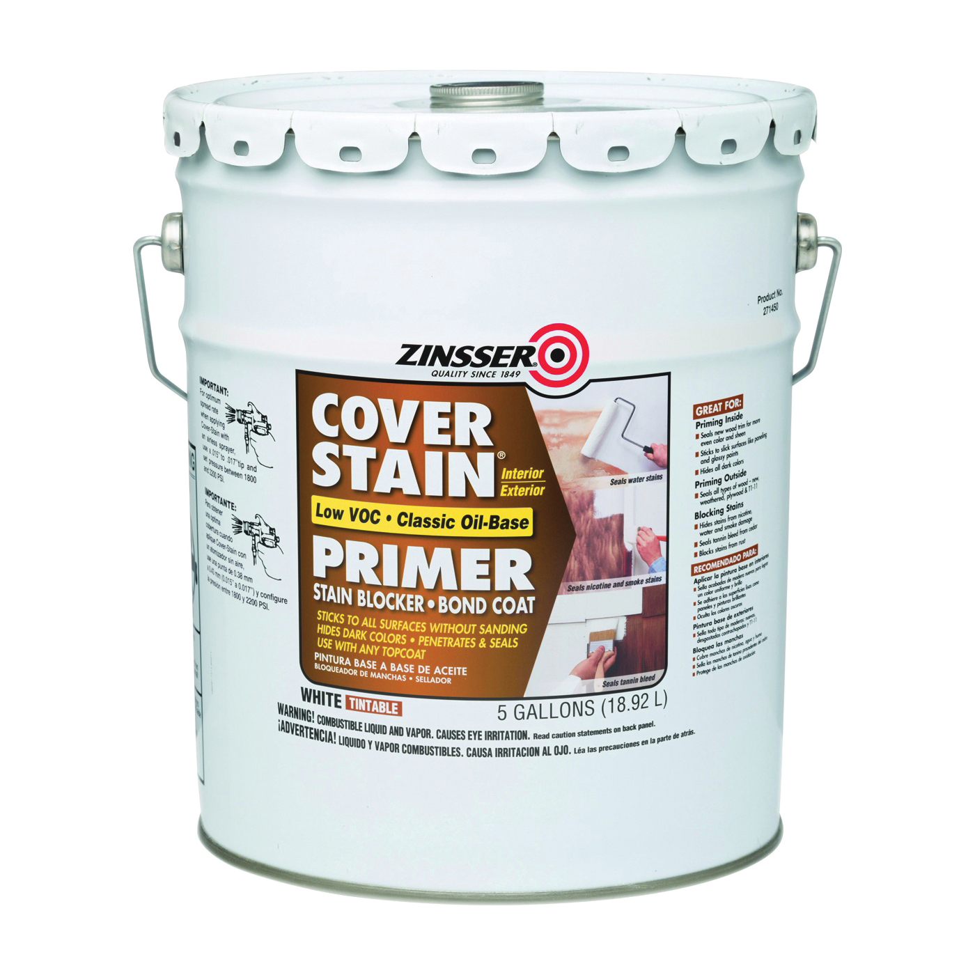 Picture of ZINSSER 271450 Primer, Flat, White, 5 gal, Pail