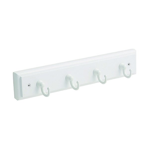 Picture of Amerock 2000316 Key and Gadget Hook Rack, 4-Key Hook, White, Pine Wood/Zinc, 8-5/8 in L