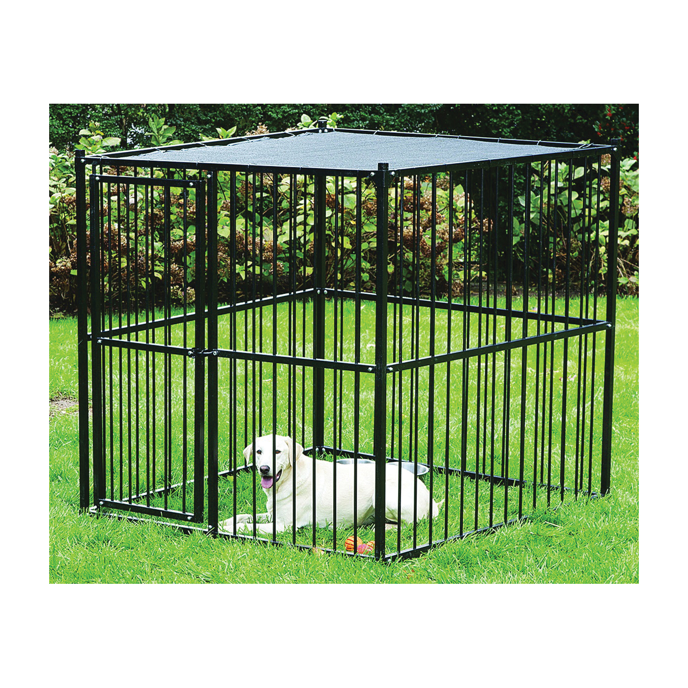 Picture of Stephens Pipe & Steel RSHBK11-13659 Dog Kennel with Sunblock Top, 5 ft OAL, 5 ft OAW, 5 ft OAH, Steel, Black