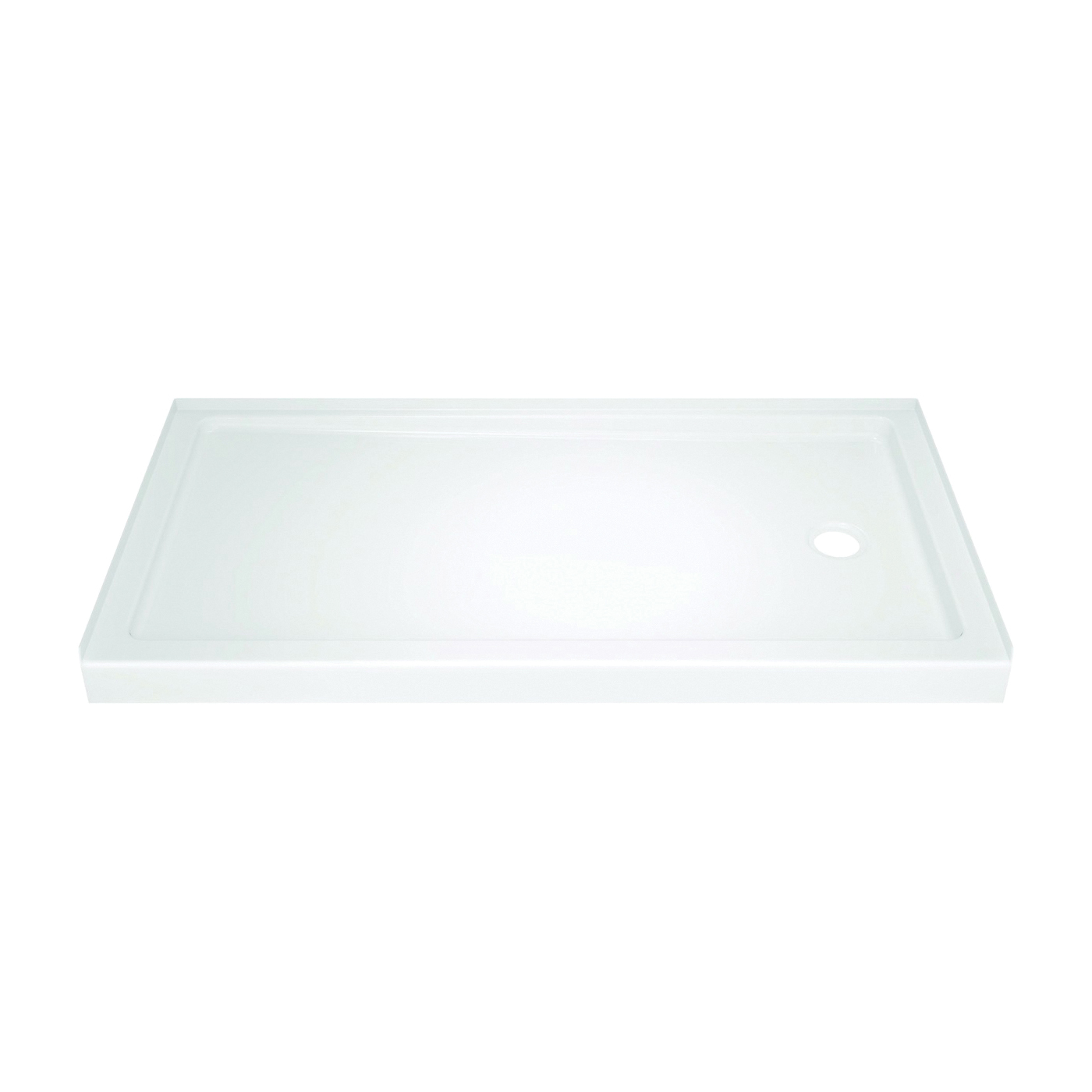Picture of DELTA 40094R Shower Base, 59.88 in L, 30-3/4 in W, 3-1/2 in H, Acrylic, White, Stud Installation