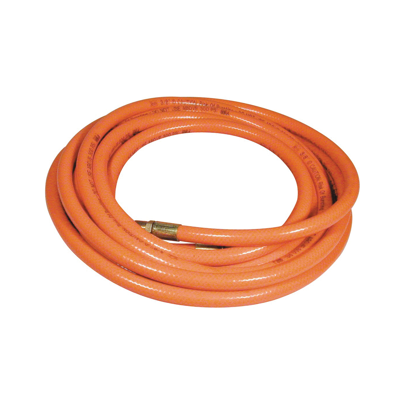 Picture of Amflo 576-25A Air Hose, 3/8 in OD, 25 ft L, MNPT, 300 psi Pressure, PVC, Orange