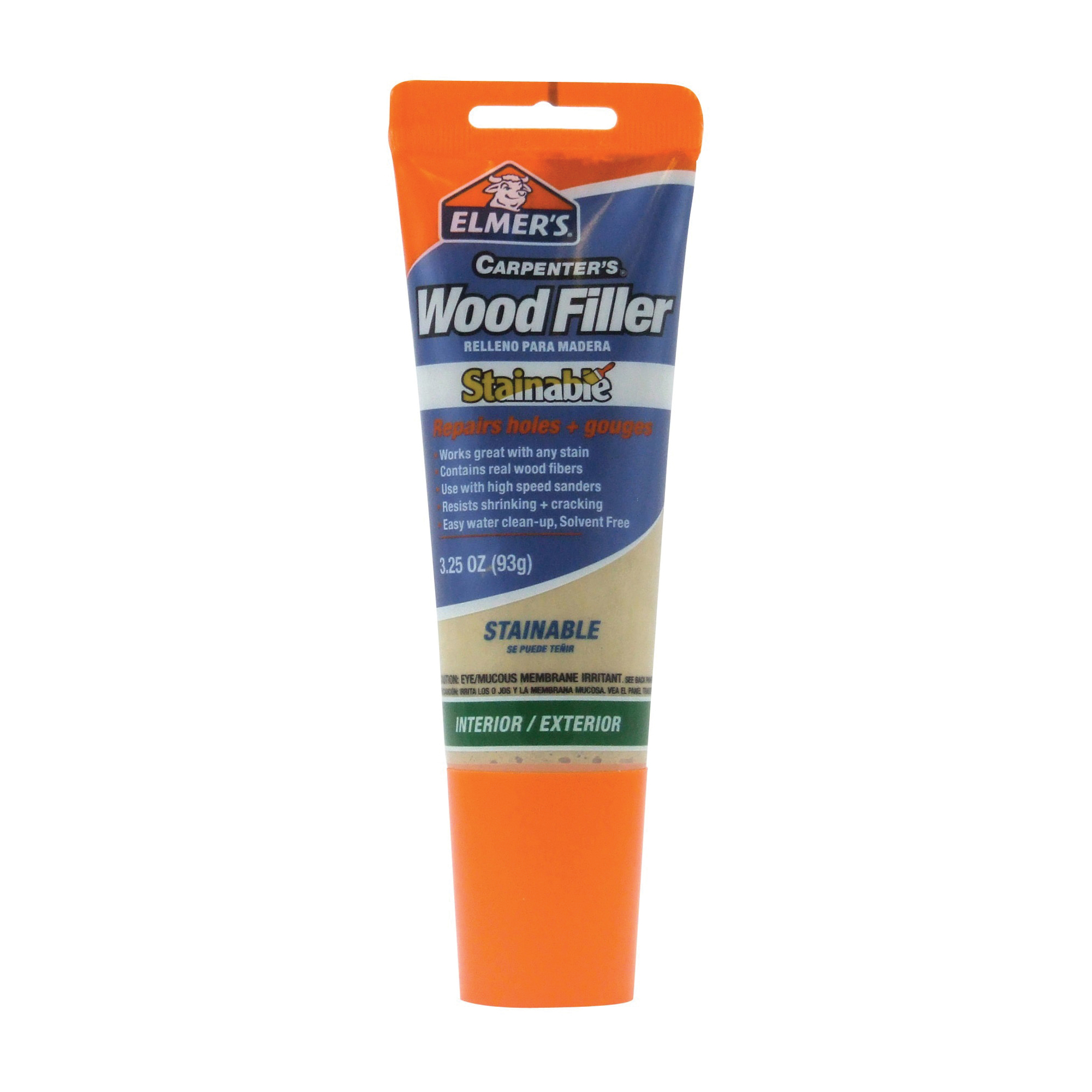 Picture of Elmers E887Q Wood Filler, Paste, Mild Acrylic, Beige, 3.25 oz Package, Tube