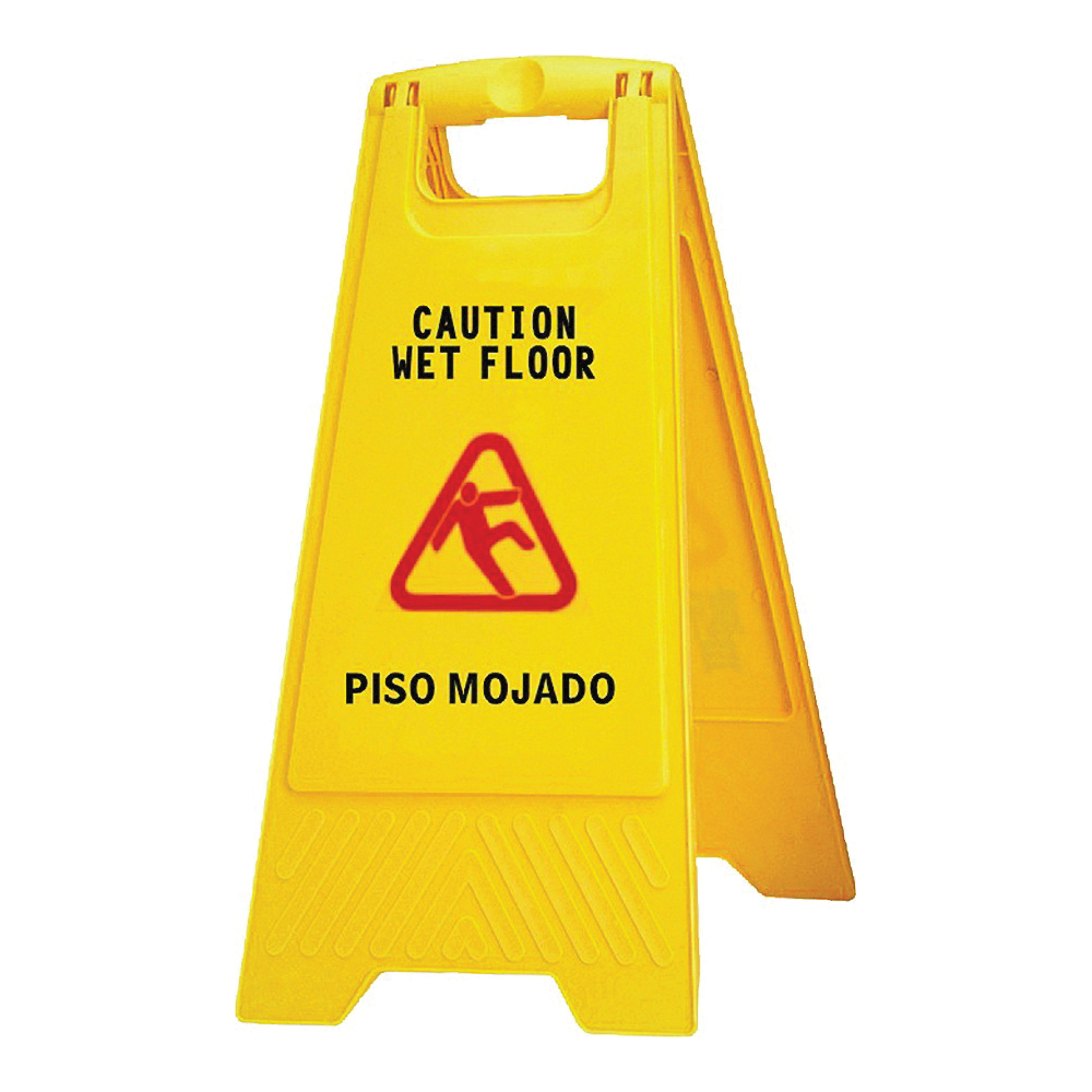 Picture of Chickasaw 628 Floor Sign, 24 in H, Caution Wet Floor and Piso Mojado, English, French, Spanish