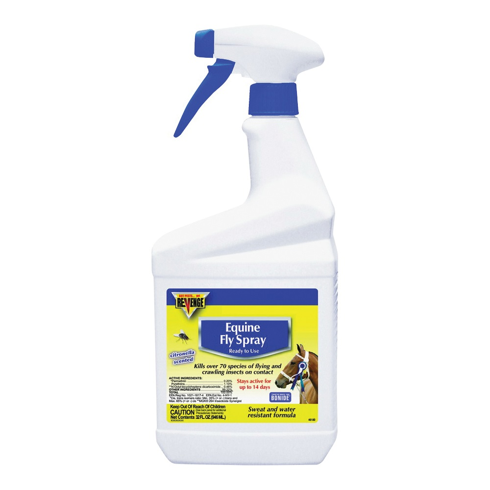 Picture of Bonide 46180 Equine Fly Spray, Liquid, Light Yellow, Characteristic, 1 qt Package, Can
