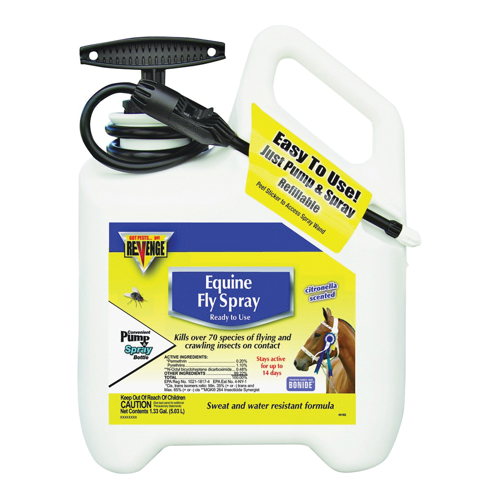 Picture of Bonide 46182 Equine Fly Spray, Liquid, Light Yellow, Characteristic, 1.33 gal Package, Can