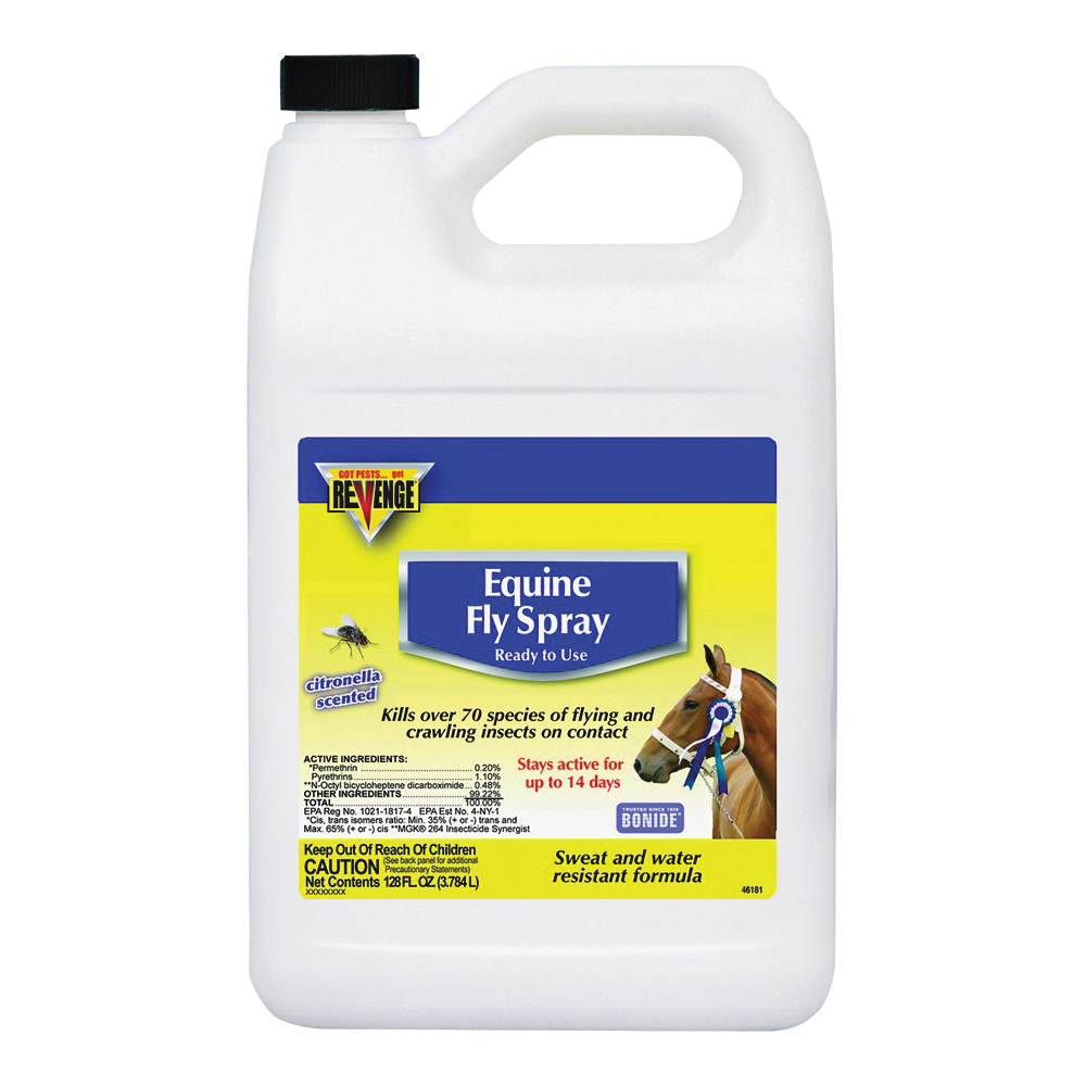 Picture of Bonide 46181 Equine Fly Spray, Liquid, Light Yellow, Characteristic, 1 gal Package, Can