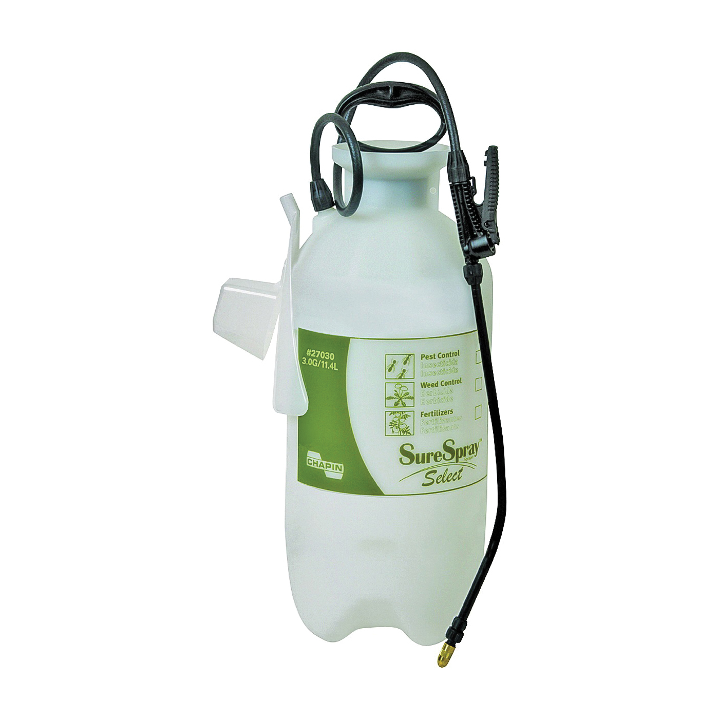 Picture of CHAPIN SureSpray 27030 Compression Sprayer, 3 gal Tank, Poly Tank, 34 in L Hose
