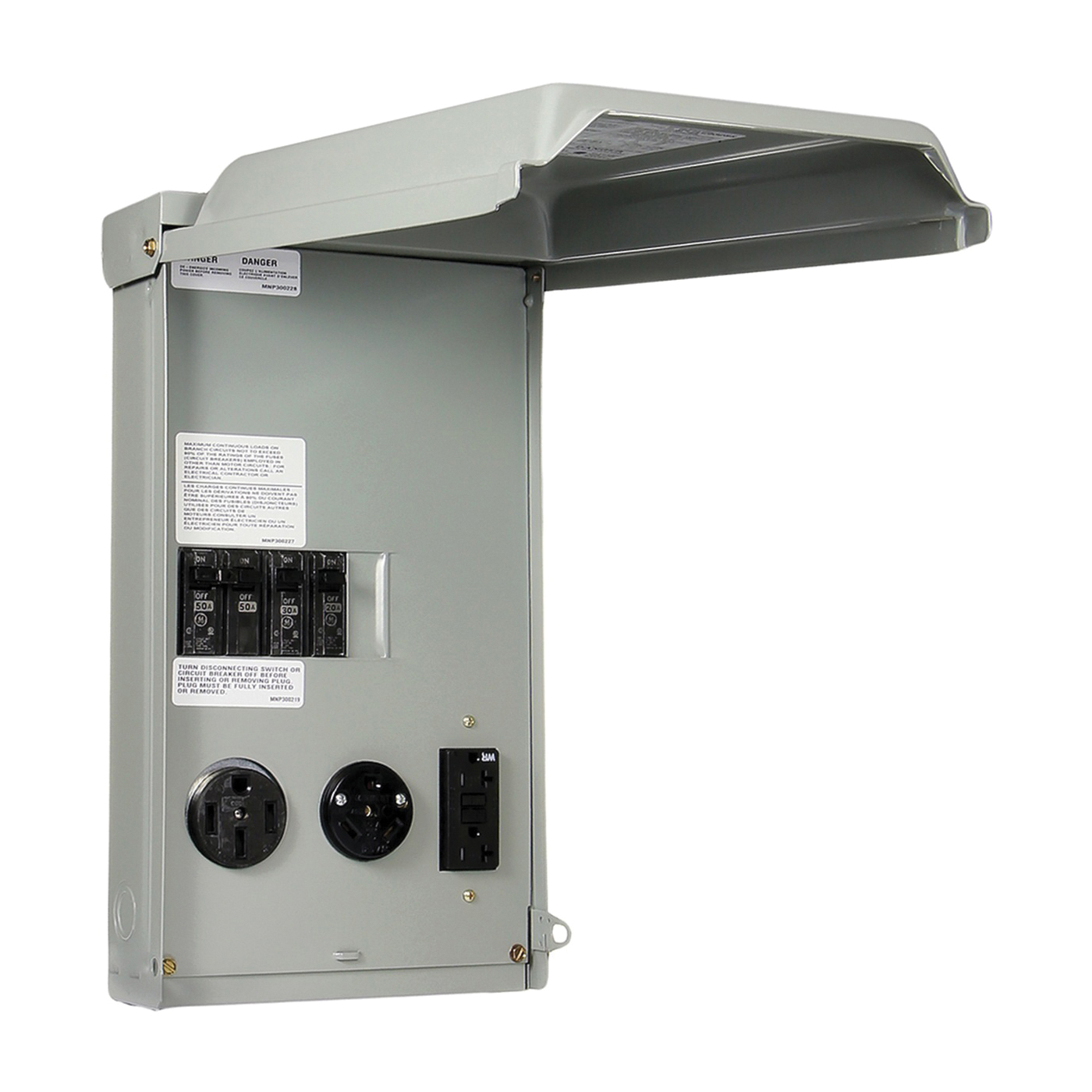 Picture of GE Industrial Solutions GE1LU532SS Unmetered RV Outlet Box, 100 A, 120, 240 V, Surface Mounting