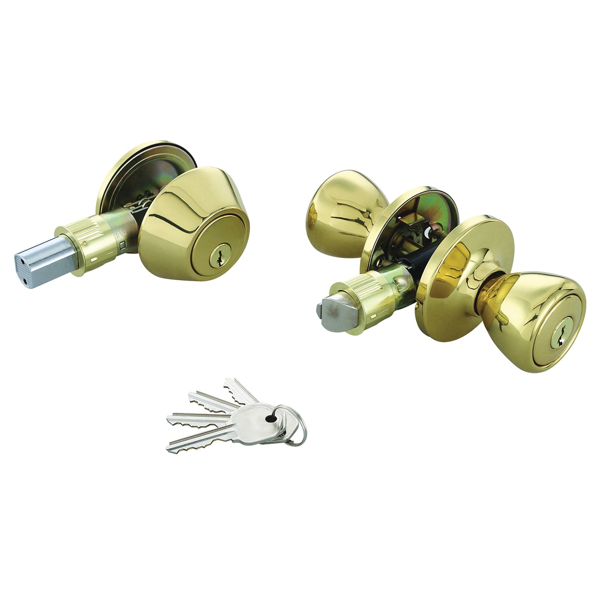 Picture of Prosource T-5764-D101PB Deadbolt and Entry Lockset, Keyed Alike Key, Polished Brass