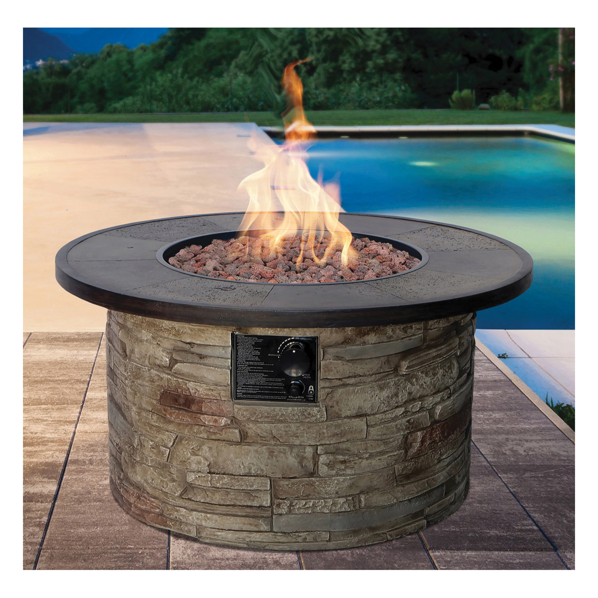 Picture of Seasonal Trends 50167 Monterey Fire Patio Table, 31.90 in OAW, 31.90 in OAD, 17.70 in OAH, Impulse Ignition Ignition