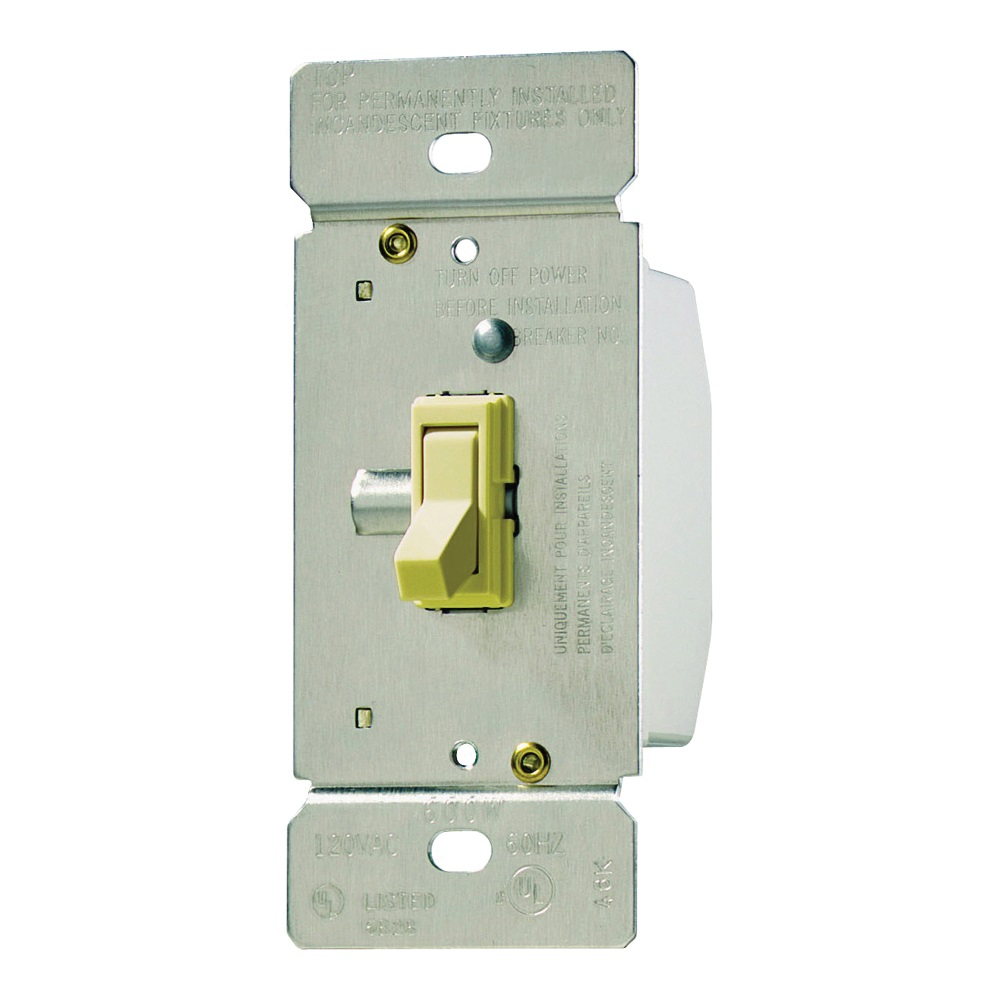 Picture of Eaton Wiring Devices TI061-V-K Toggle Dimmer, 120 V, 600 W, Halogen, Incandescent Lamp, 3-Way, Ivory