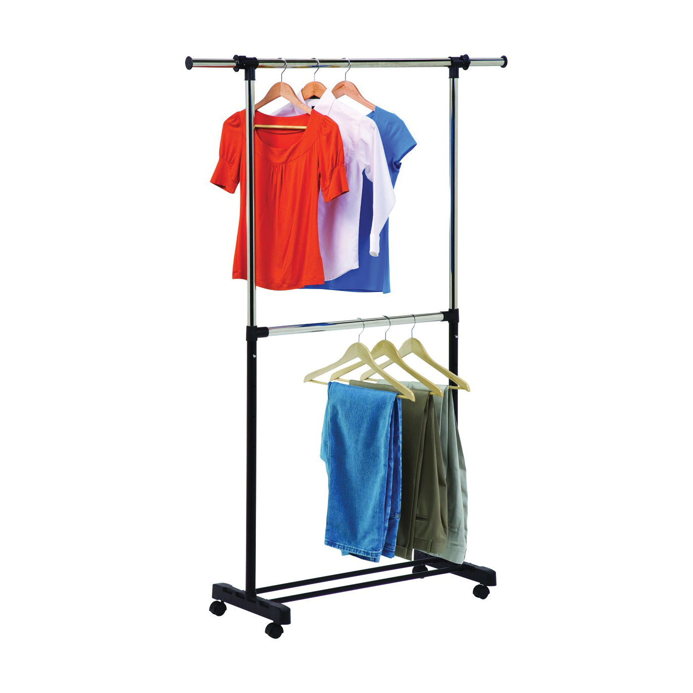 Picture of Honey-Can-Do GAR-01767 Expandable Garment Rack, 60 in W, 73 in H, Steel, Black
