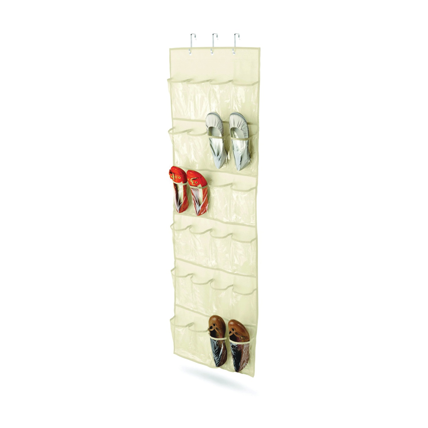 Picture of Honey-Can-Do SFT-01256 Over-The-Door Shoe Organizer, 21 in W, 57 in H, Canvas, Beige